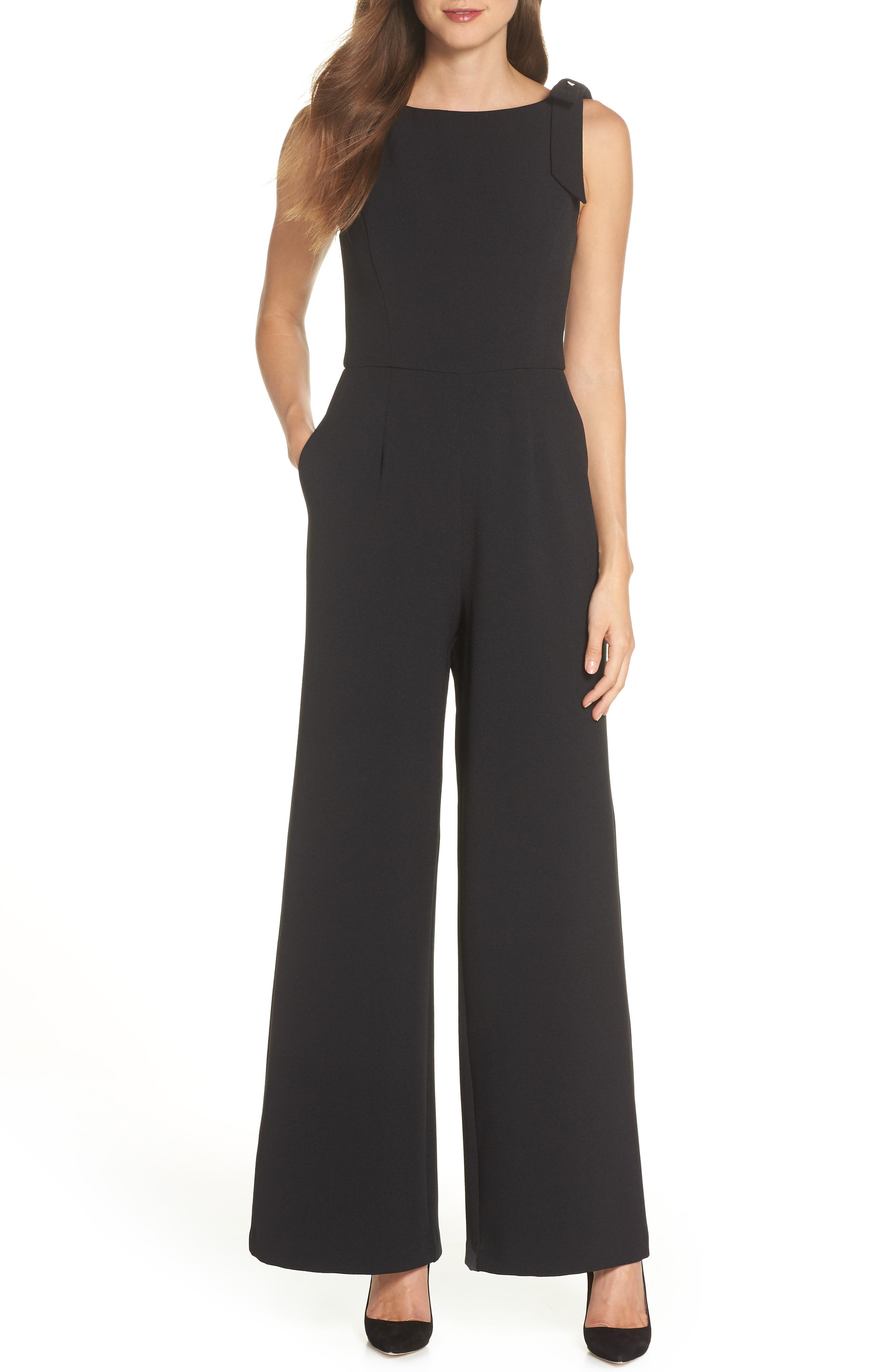 JULIA JORDAN Shoulder Bow Jumpsuit, Main, color, BLACK
