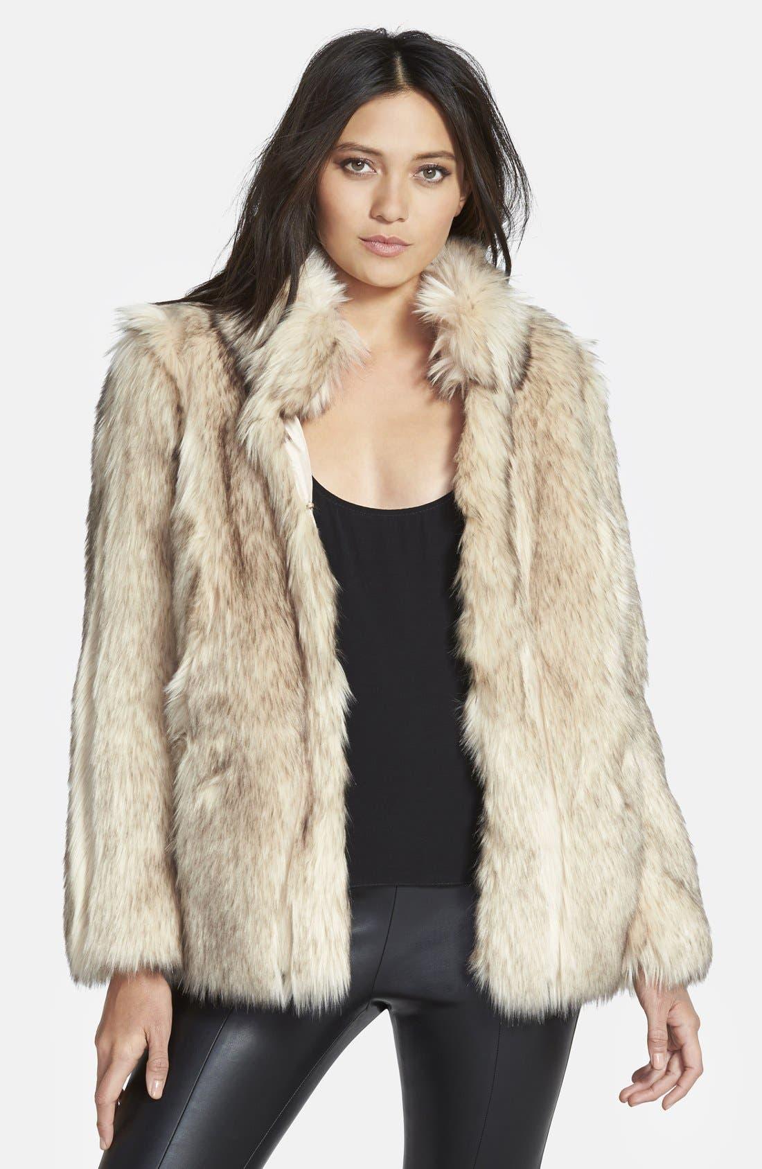 TOPSHOP 'Leah' Faux Fur Coat, Main, color, 101