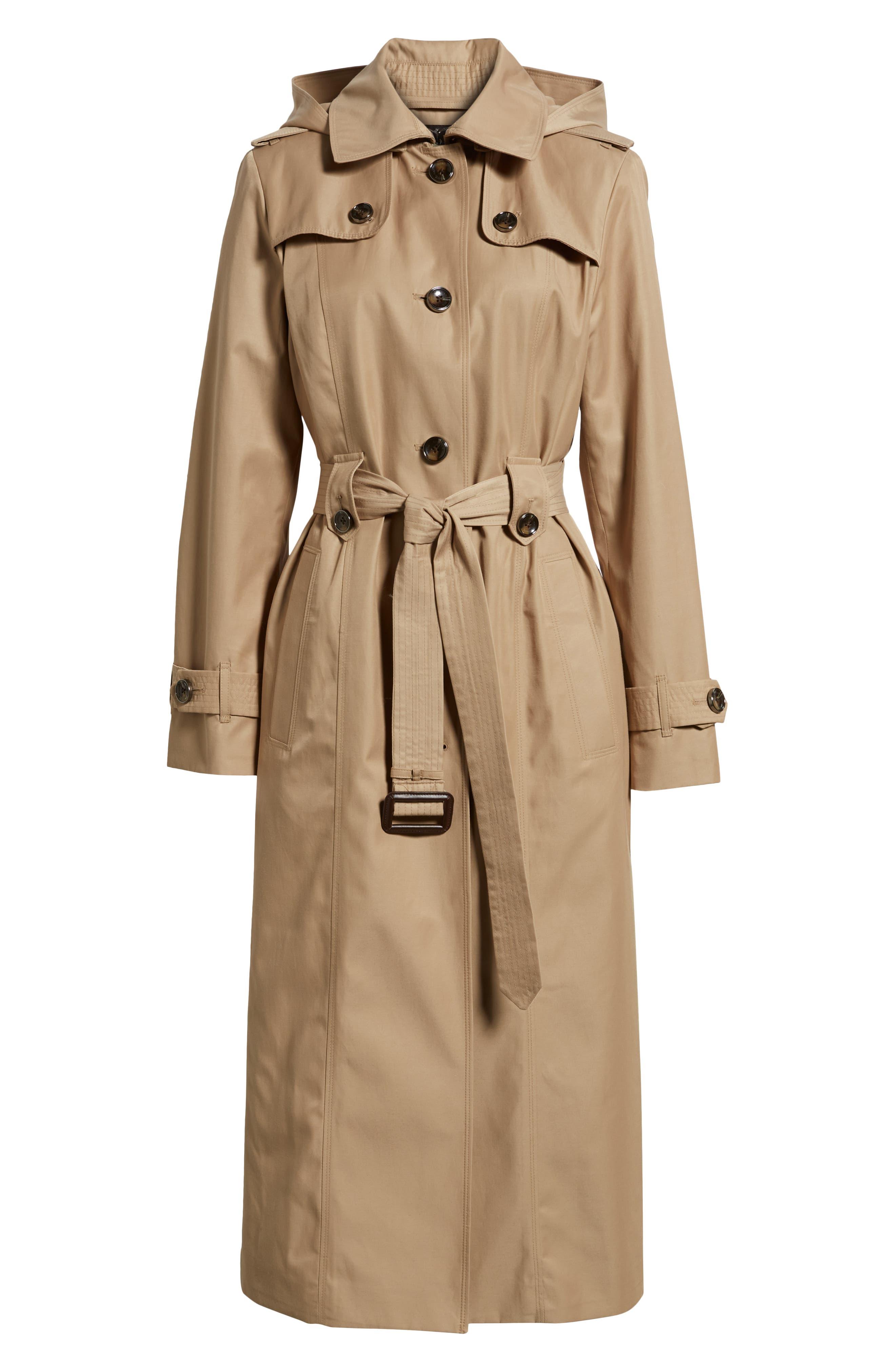 LONDON FOG, Jill Long Trench Coat, Alternate thumbnail 6, color, KHAKI