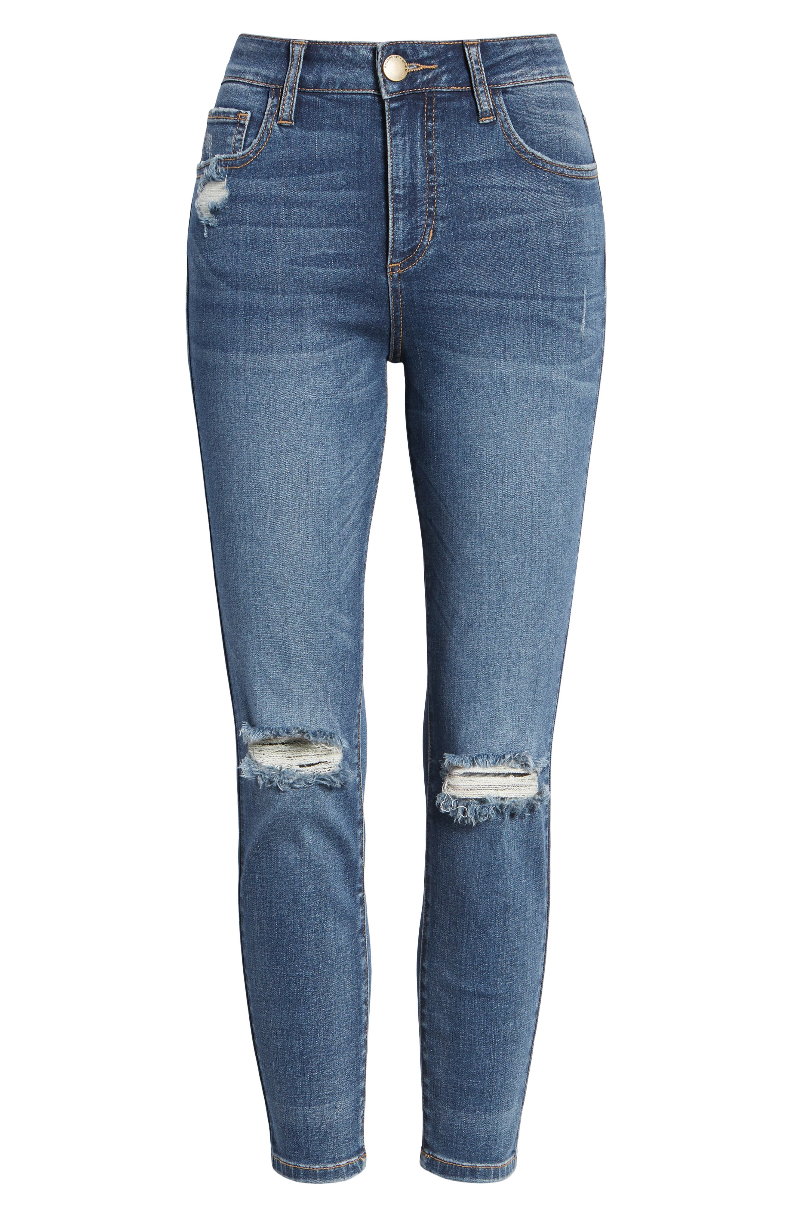 PROSPERITY DENIM, Ripped High Waist Skinny Jeans, Alternate thumbnail 7, color, RAYA WASH