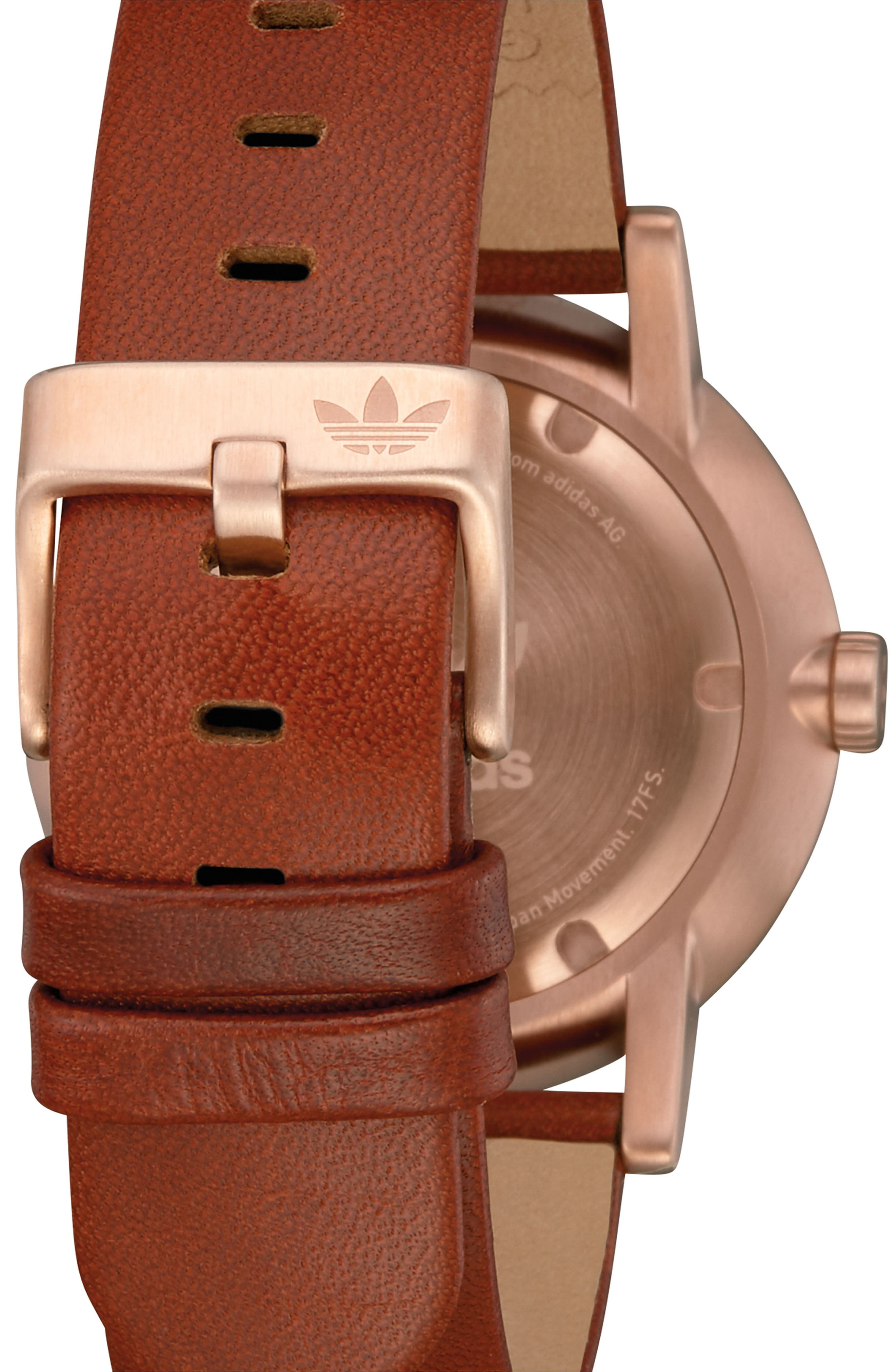 ADIDAS, District Leather Strap Watch, 40mm, Alternate thumbnail 2, color, SADDLE/ SLATE/ ROSE GOLD