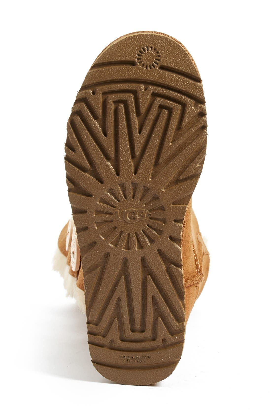 UGG<SUP>®</SUP>, Bailey Button Triplet II Genuine Shearling Boot, Alternate thumbnail 4, color, CHESTNUT SUEDE