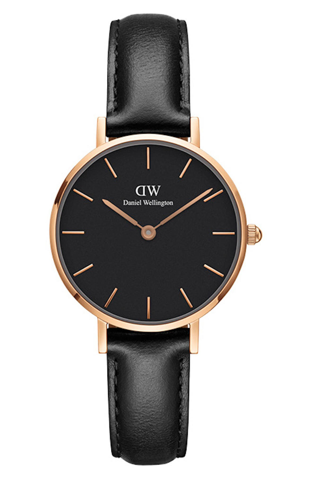 DANIEL WELLINGTON, Classic Petite Leather Strap Watch, 28mm, Main thumbnail 1, color, BLACK / ROSE GOLD