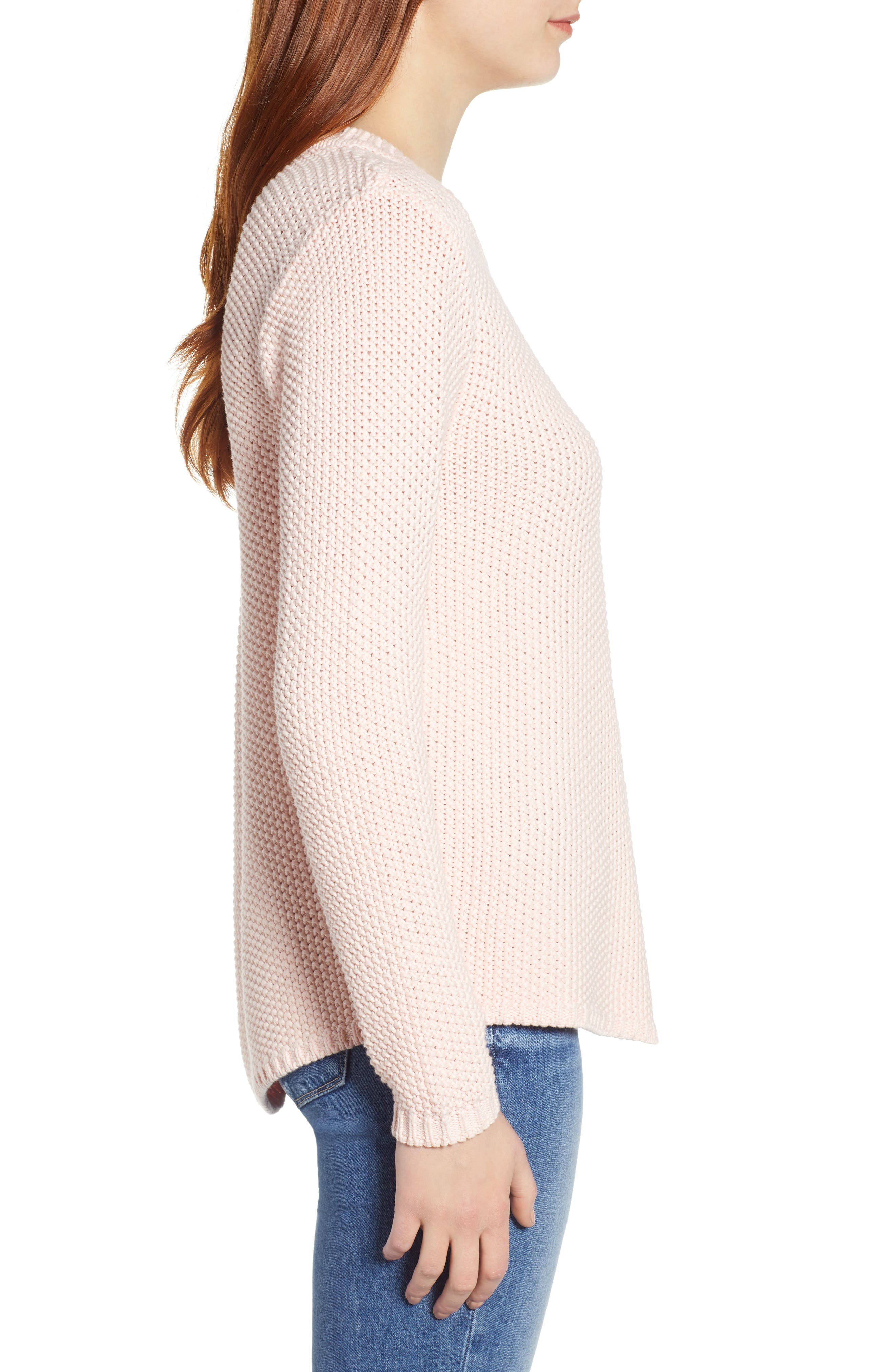 CASLON<SUP>®</SUP>, Stitch Stripe Sweater, Alternate thumbnail 3, color, PINK CHINTZ