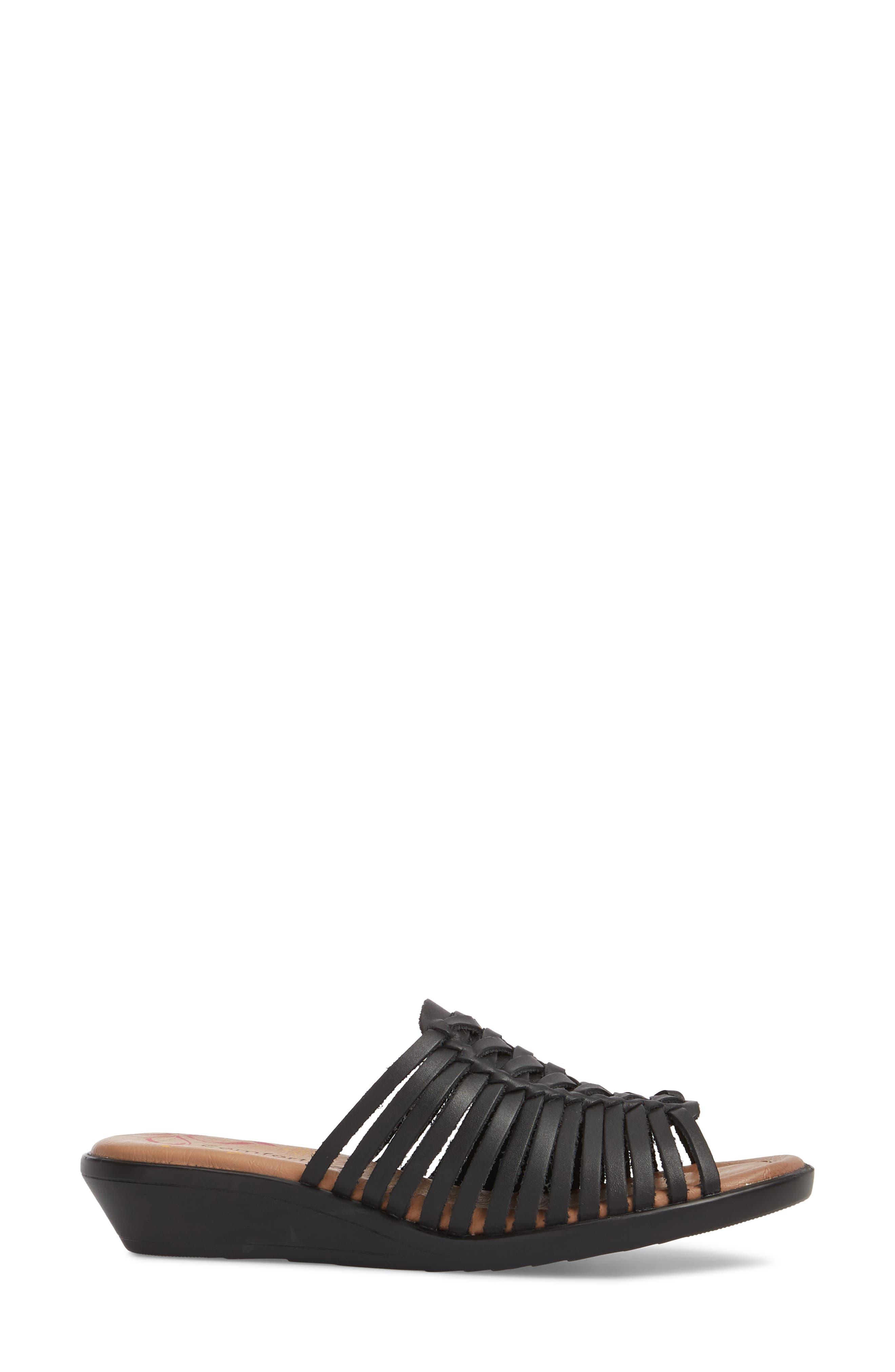 COMFORTIVA, Felida Huarache Slide Sandal, Alternate thumbnail 3, color, BLACK LEATHER