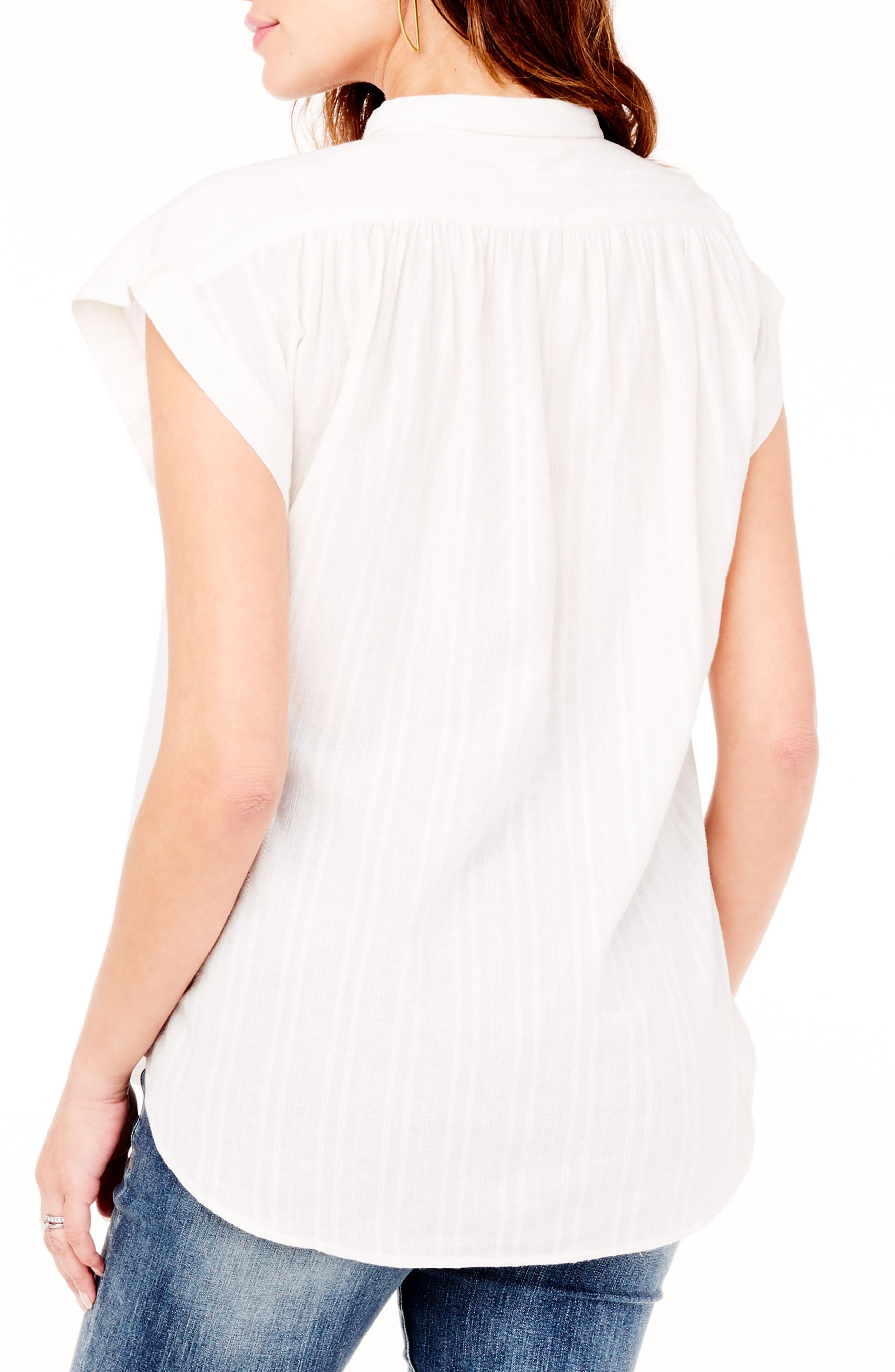INGRID & ISABEL<SUP>®</SUP>, Boxy Maternity Top, Alternate thumbnail 2, color, WHITE
