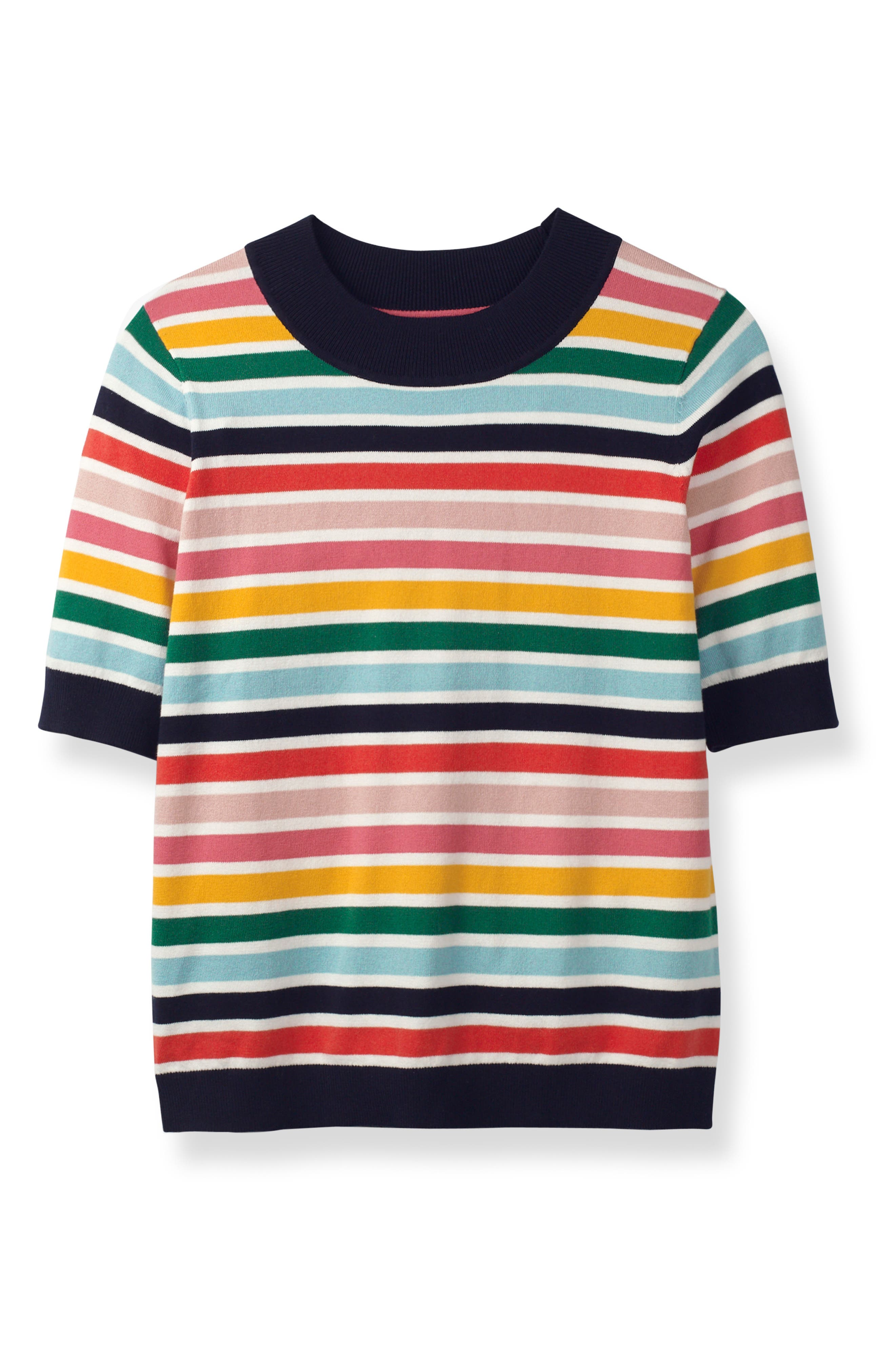 BODEN, Multicolor Knit Tee, Alternate thumbnail 4, color, MULTI STRIPE