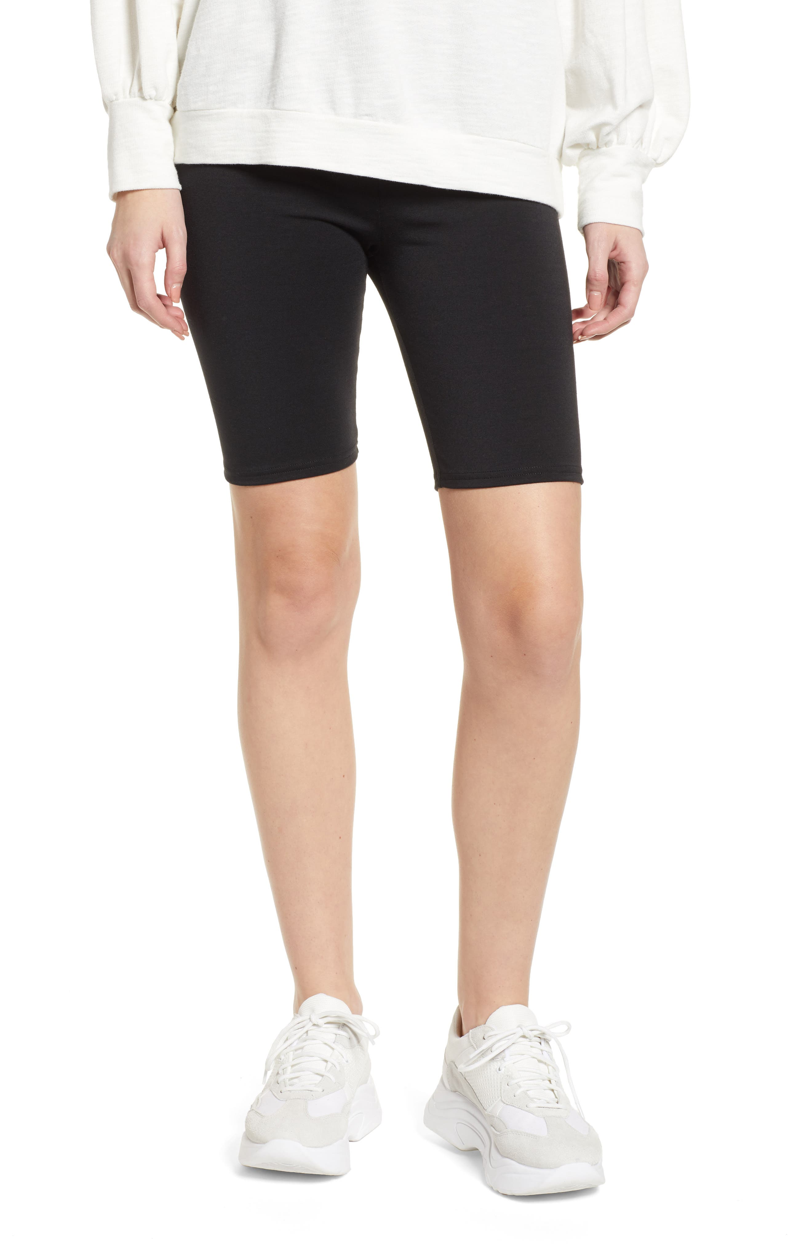 MAKE + MODEL High Waist Biker Shorts, Main, color, BLACK