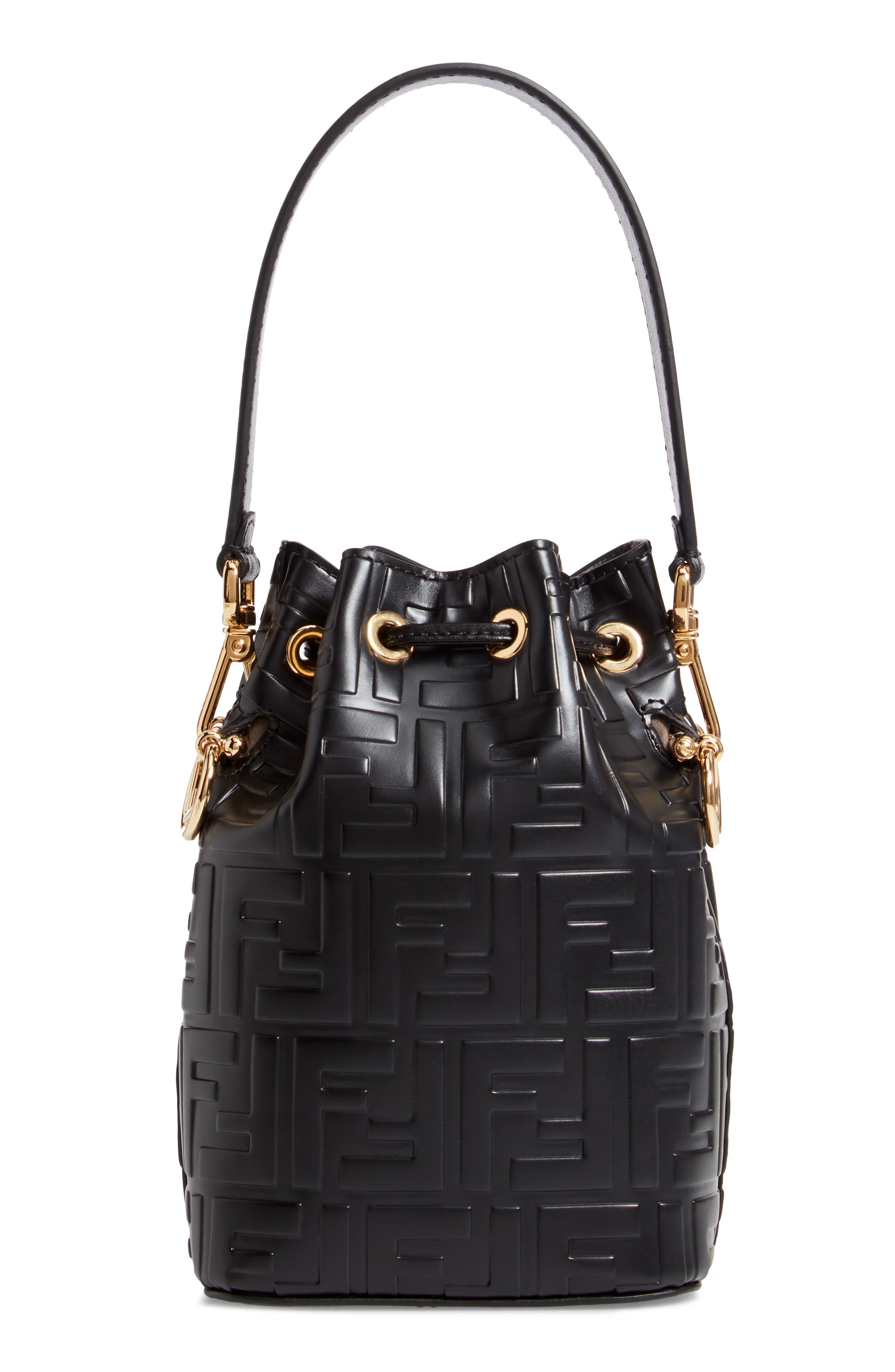 FENDI, Mini Mon Tresor Logo Leather Bucket Bag, Alternate thumbnail 4, color, NERO/ ORO SOFT