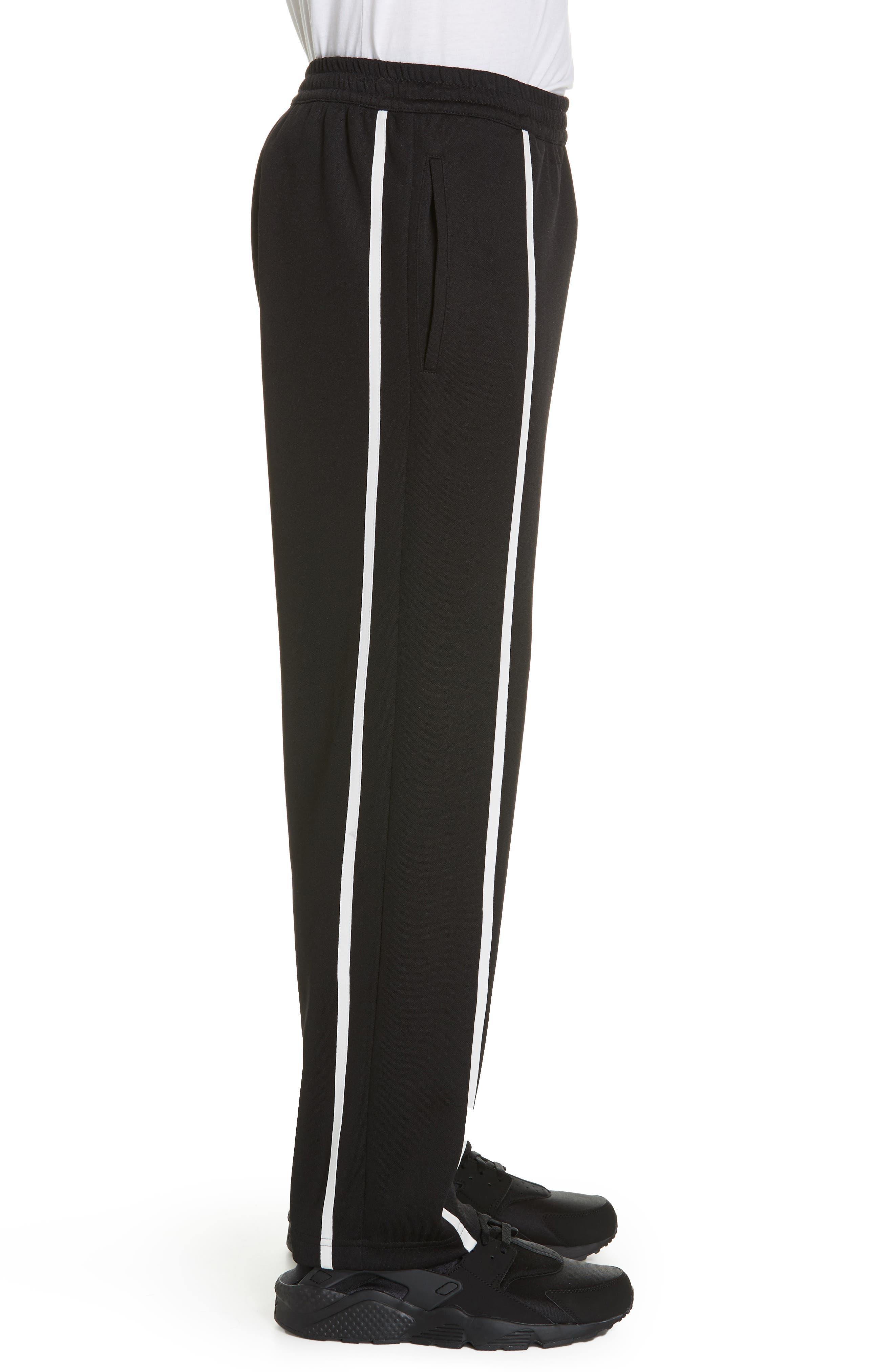 HELMUT LANG, Sport Stripe Sweatpants, Alternate thumbnail 3, color, BLACK AND WHITE