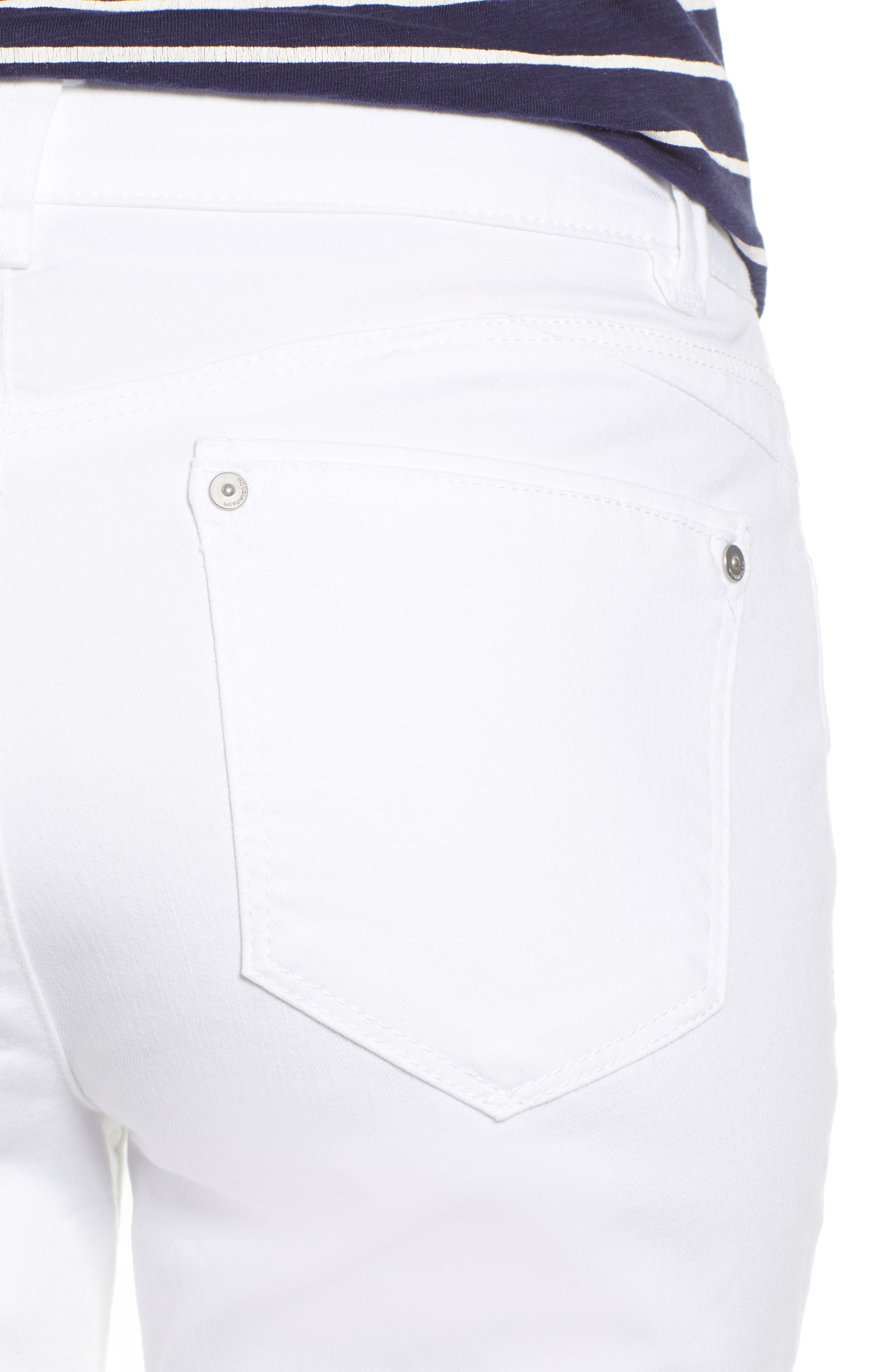 WIT & WISDOM, Ab-Solution High Waist Ankle Skinny Jeans, Alternate thumbnail 5, color, OPTIC WHITE
