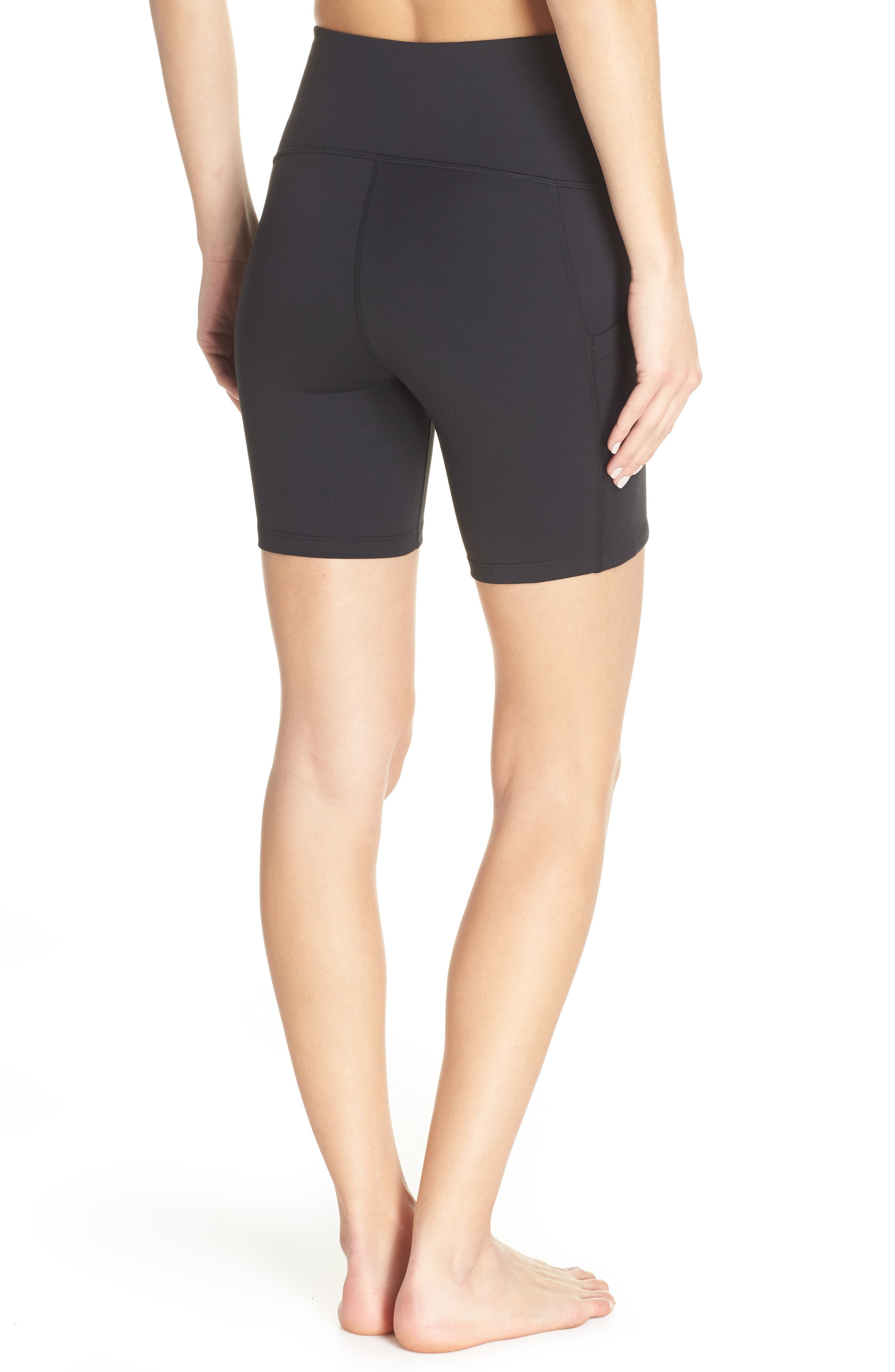 ZELLA, Live In High Waist Pocket Bike Shorts, Alternate thumbnail 2, color, BLACK