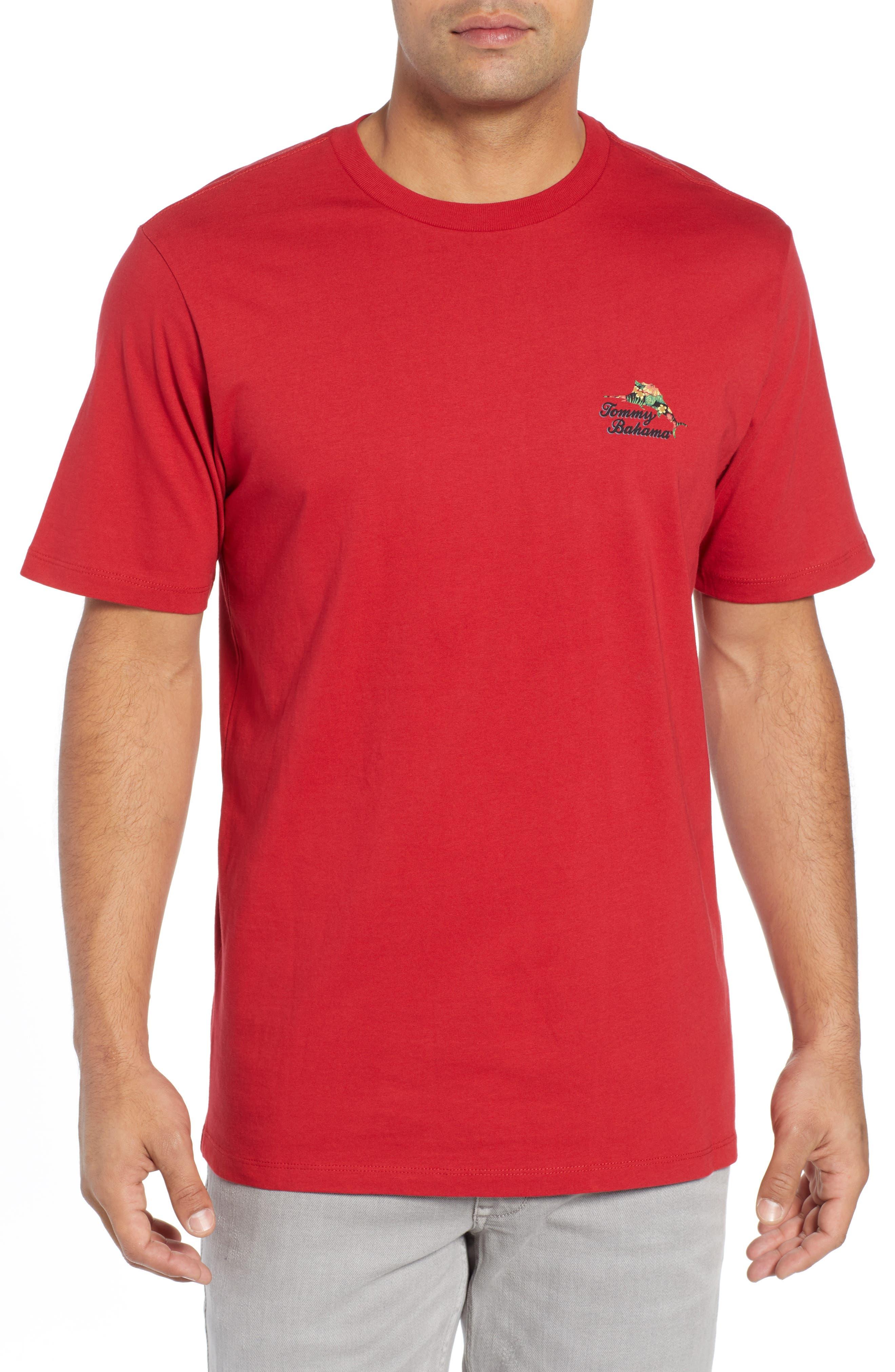 TOMMY BAHAMA, Alo-Ho Ho-Ha Graphic T-Shirt, Main thumbnail 1, color, SCOOTER RED