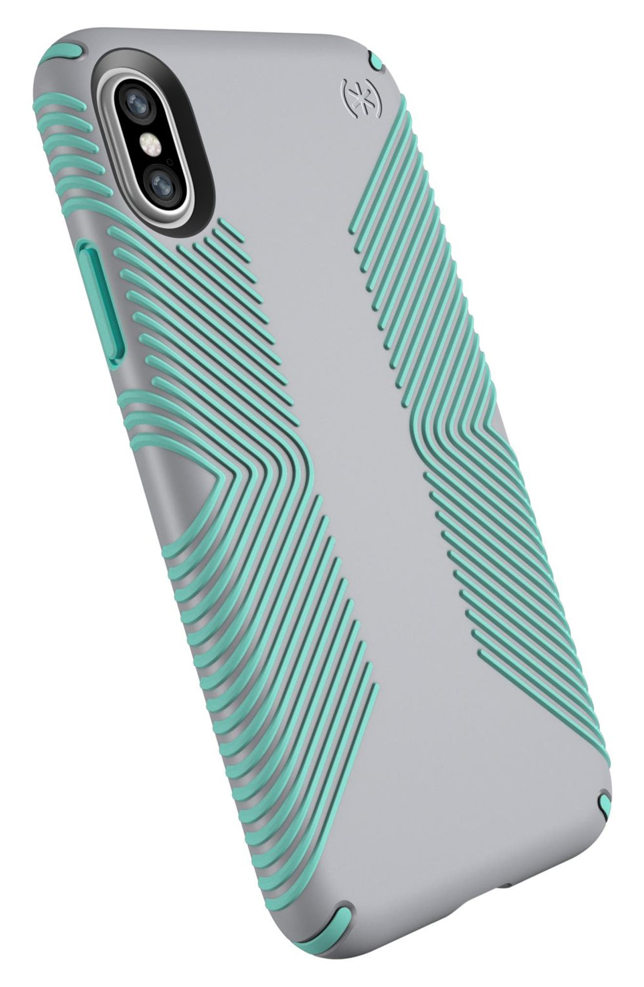 SPECK, iPhone X & Xs Case, Alternate thumbnail 8, color, DOLPHIN GREY/ ALOE GREEN