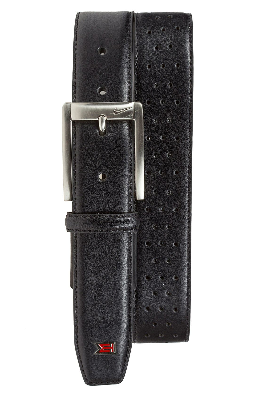 NIKE, 'Tiger Woods' Mesh Leather Belt, Main thumbnail 1, color, BLACK