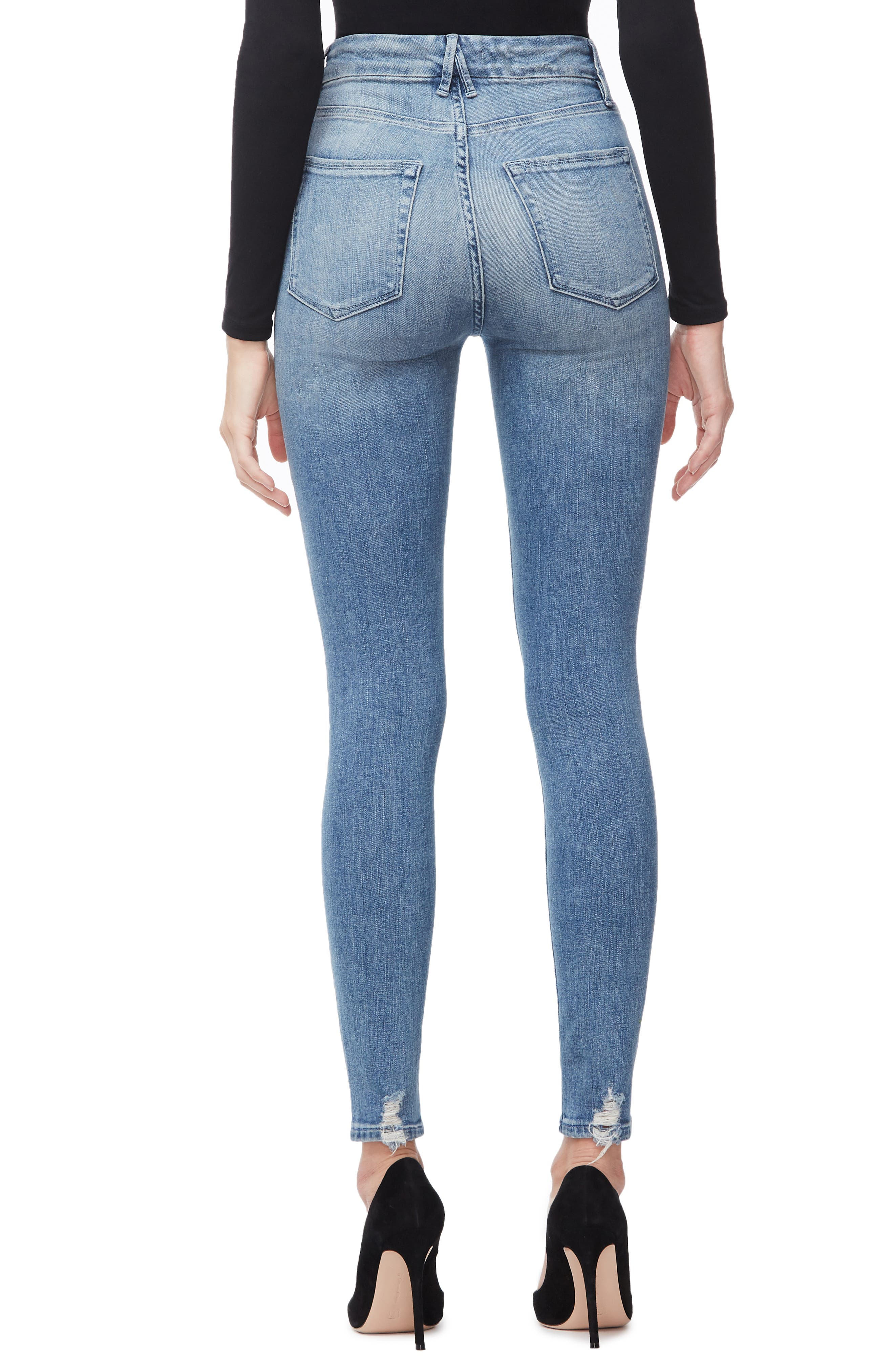 GOOD AMERICAN, Good Waist Ripped High Waist Skinny Jeans, Alternate thumbnail 4, color, BLUE262