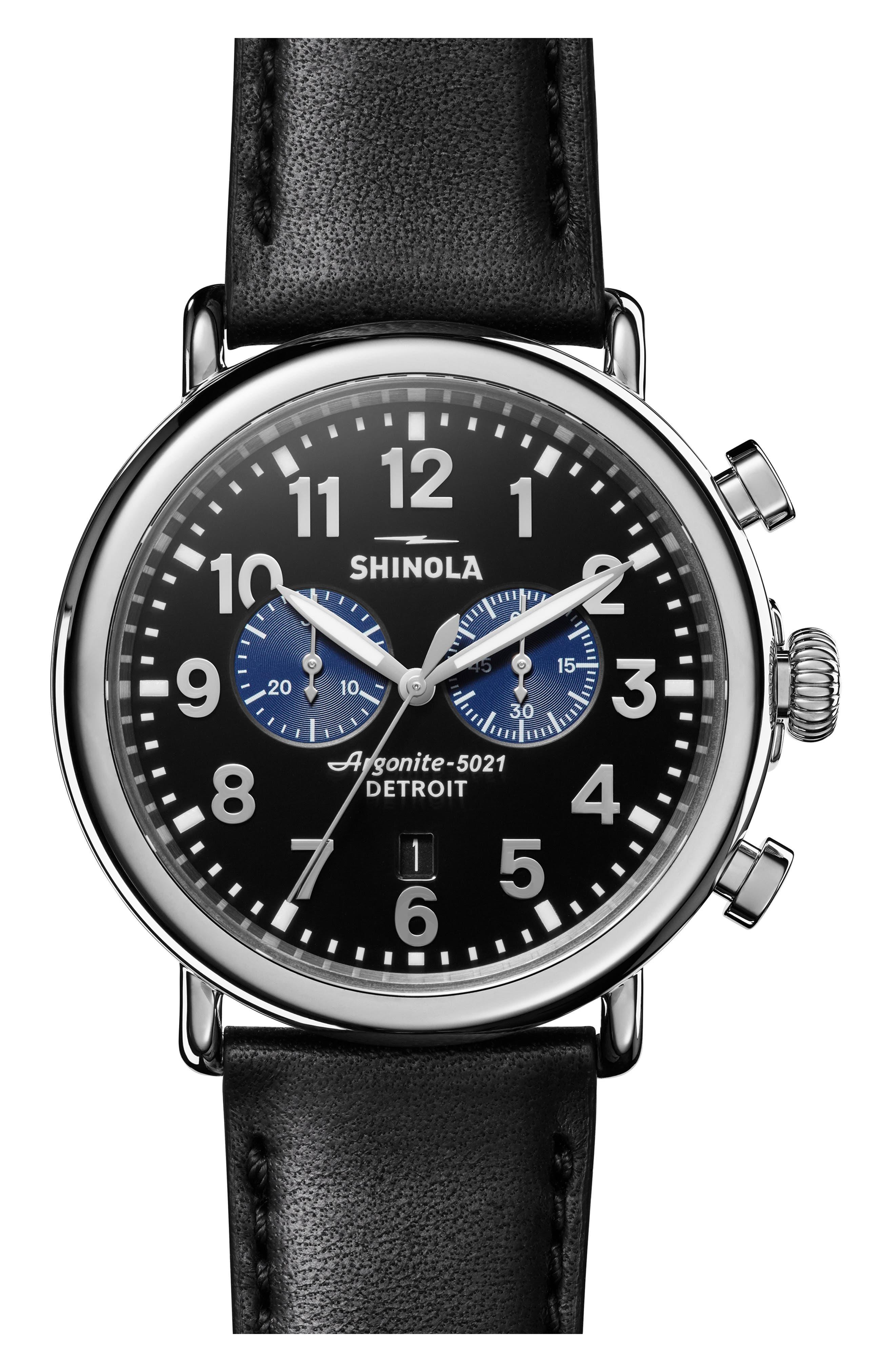 SHINOLA The Runwell Chrono Leather Strap Watch, 47mm, Main, color, 002