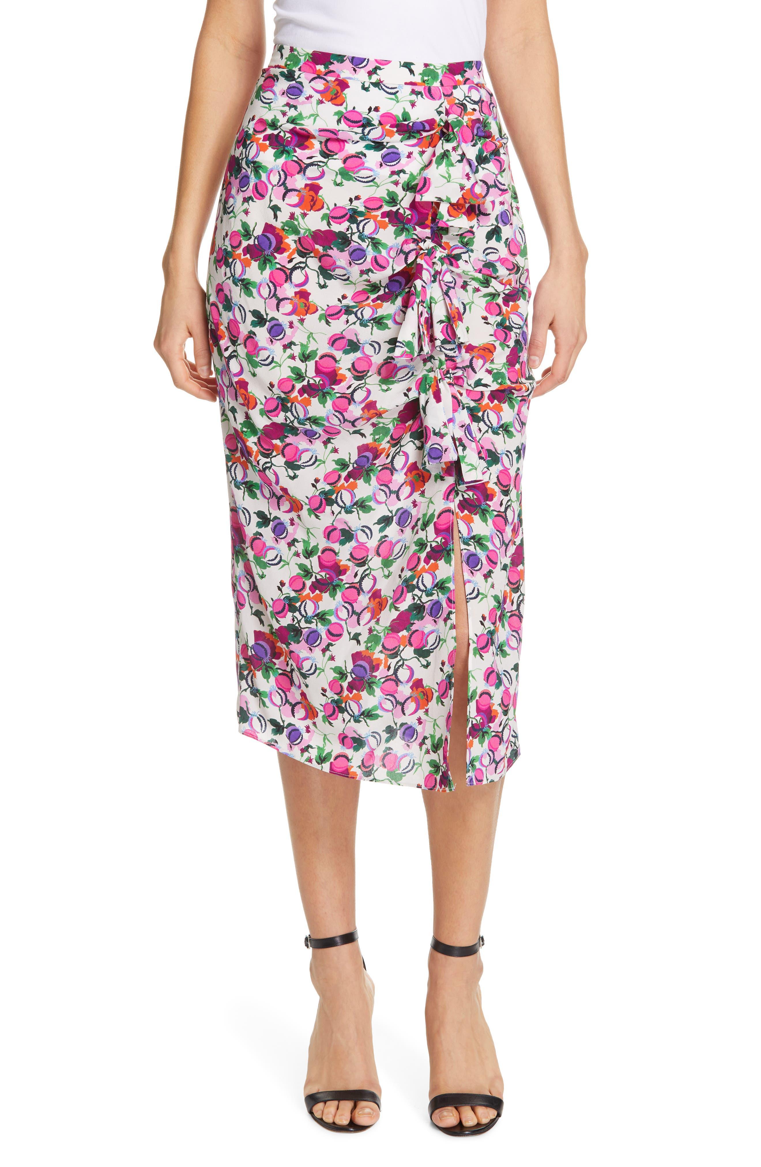 SALONI Kelly Floral Print Silk Skirt, Main, color, ROSE BOUNTY