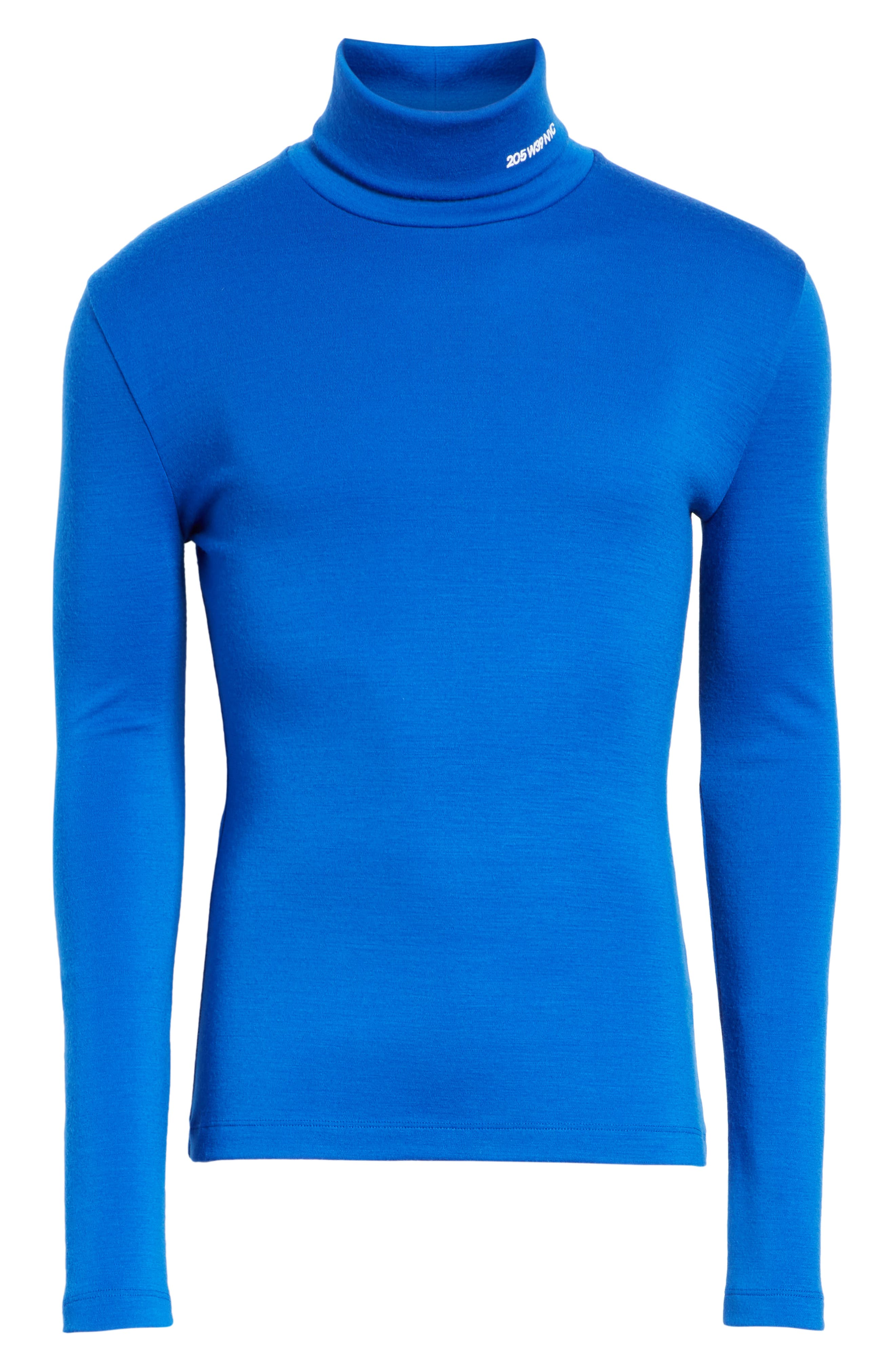 CALVIN KLEIN 205W39NYC, Wool Jersey Turtleneck, Alternate thumbnail 6, color, BRIGHT BLUE
