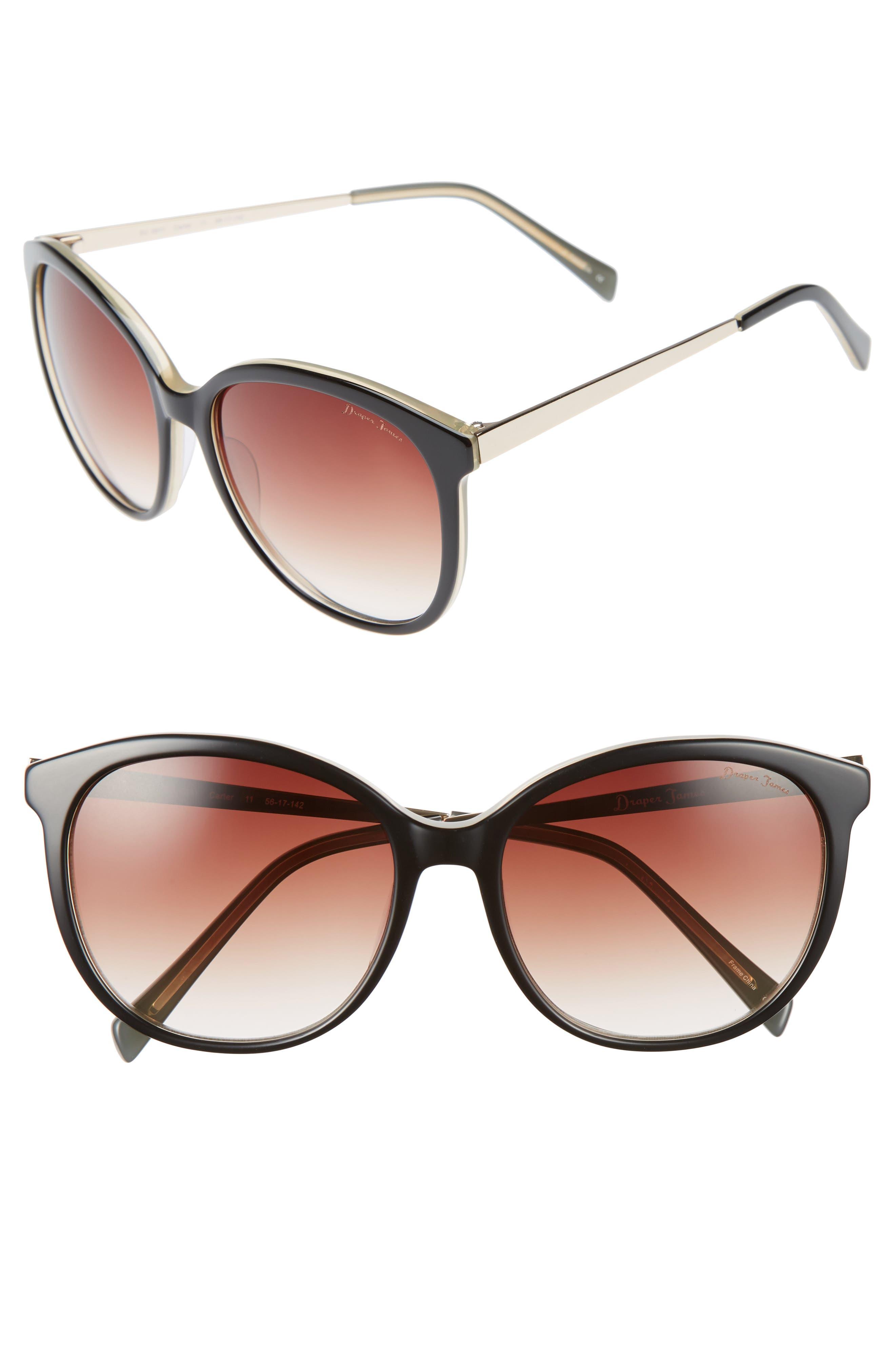 DRAPER JAMES, 56mm Gradient Lens Sunglasses, Main thumbnail 1, color, 001