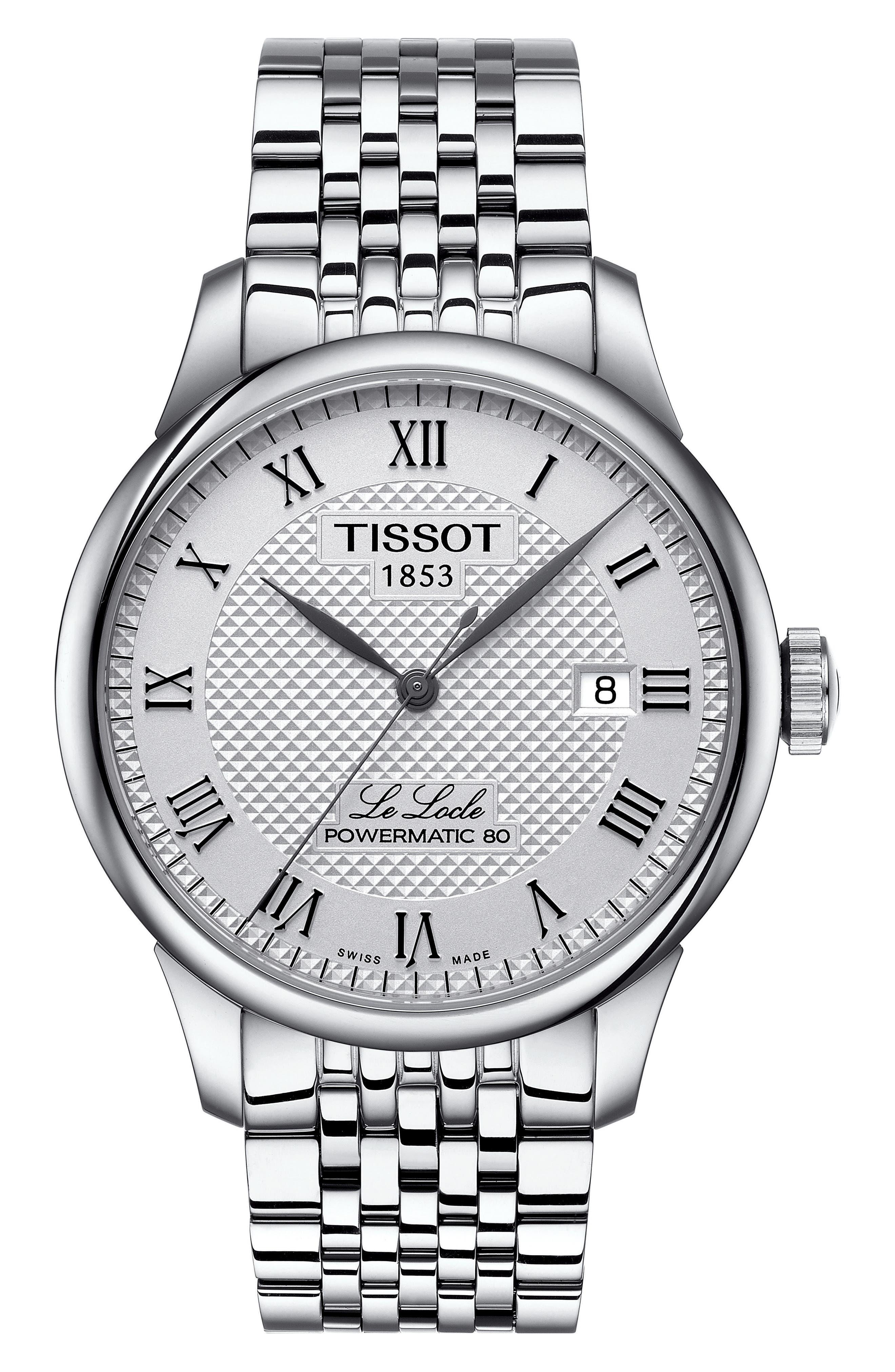 TISSOT, Le Locle Bracelet Watch, 39mm, Main thumbnail 1, color, SILVER