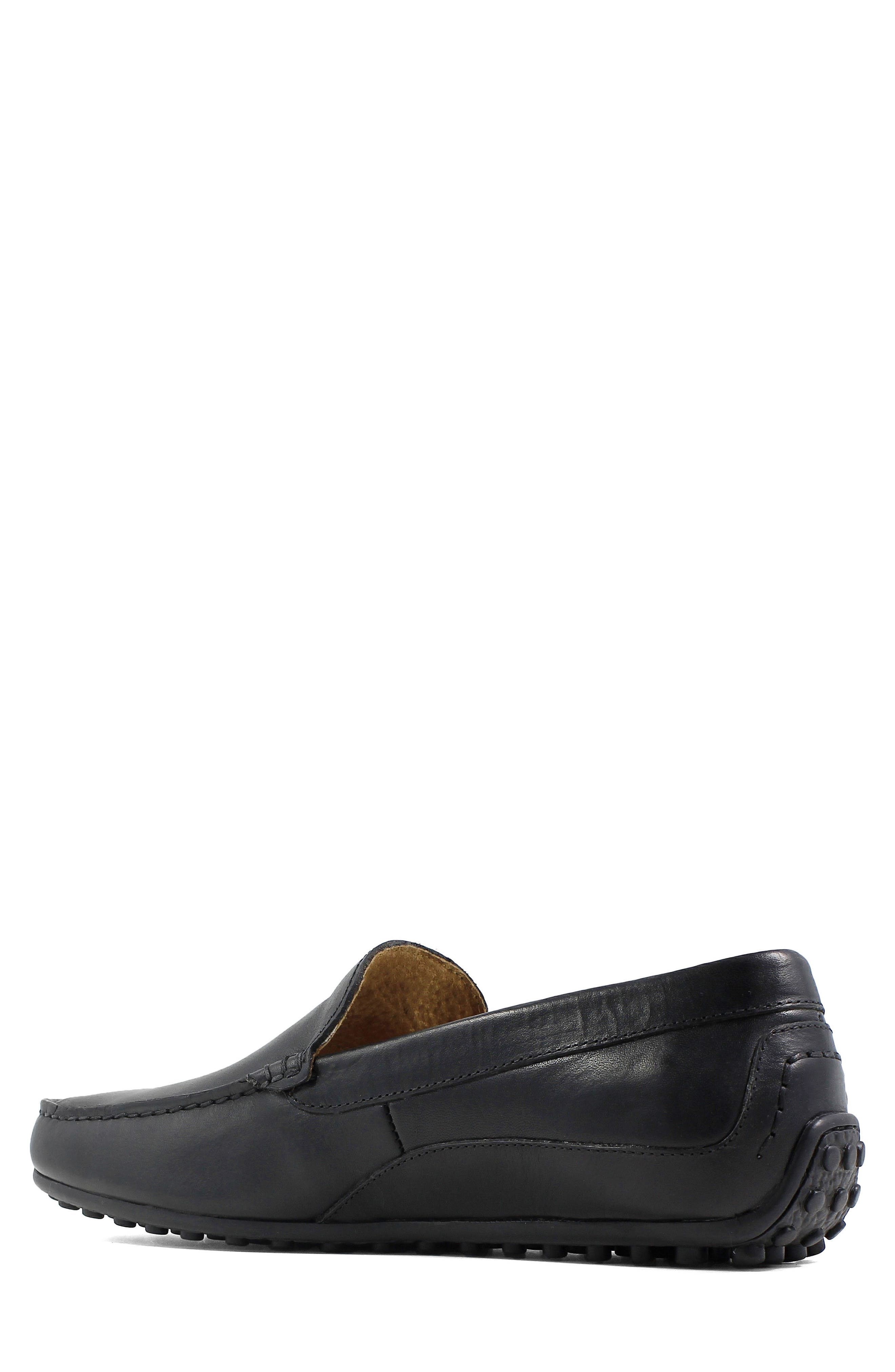 FLORSHEIM, Oval Driving Shoe, Alternate thumbnail 2, color, BLACK LEATHER