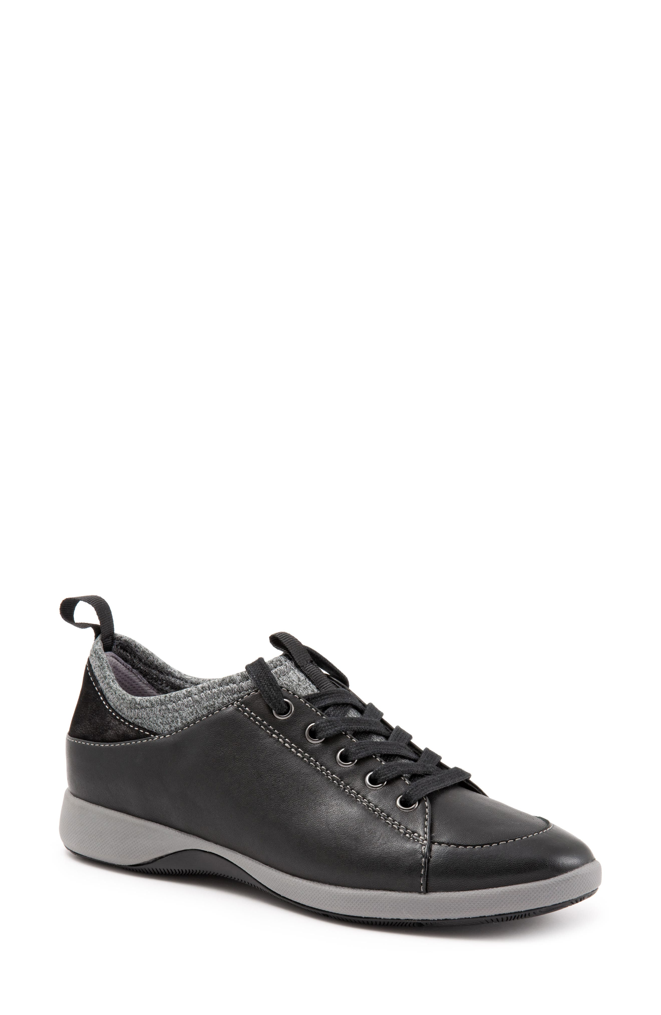SOFTWALK<SUP>®</SUP>, SAVA Haven Sneaker, Alternate thumbnail 8, color, BLACK/ GREY LEATHER