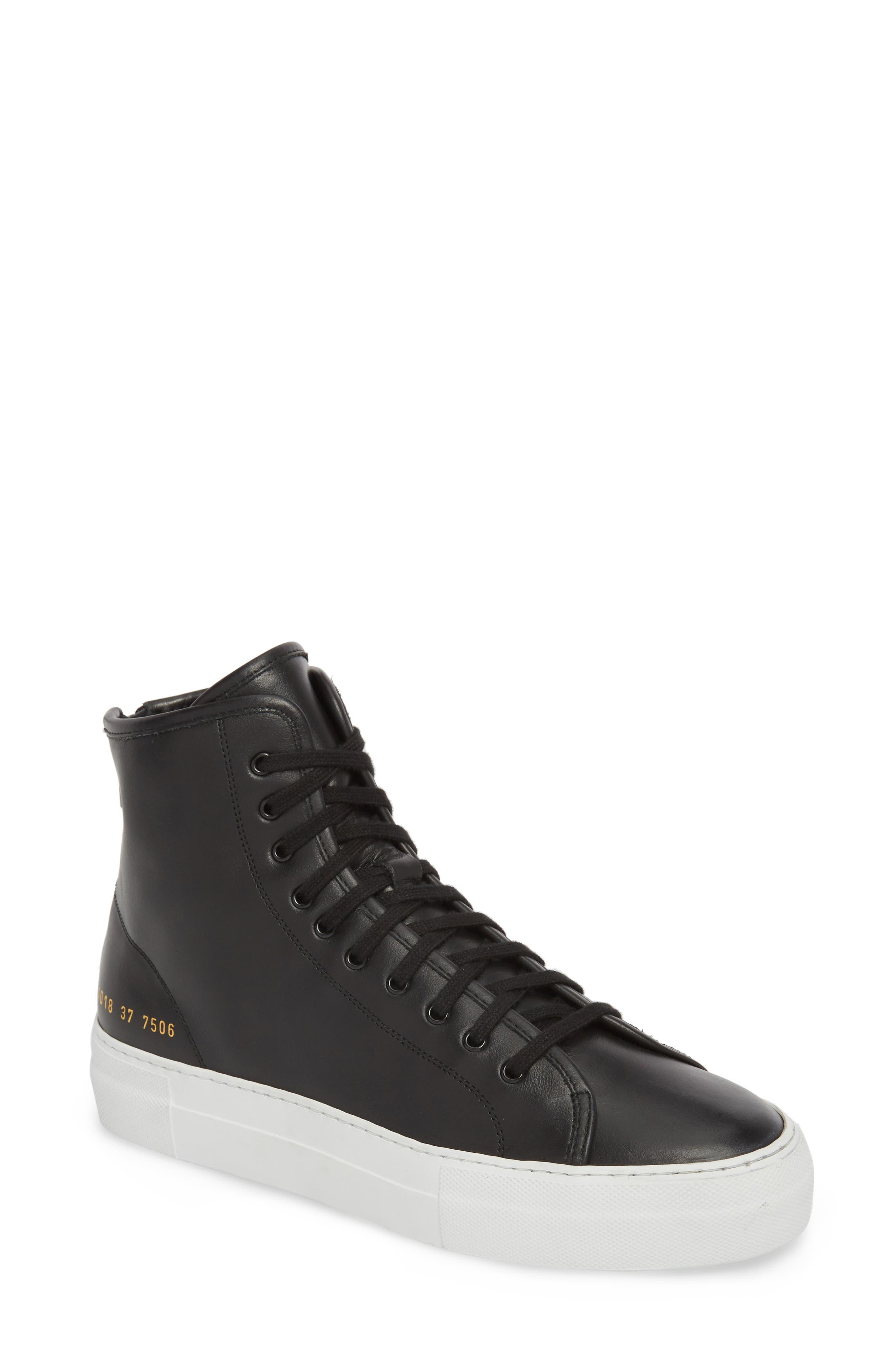 COMMON PROJECTS Tournament High Super Sneaker, Main, color, BLACK/ WHITE