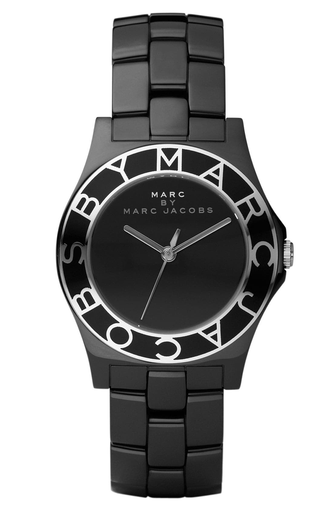 MARC BY MARC JACOBS, 'Ceramic Blade' Watch, Main thumbnail 1, color, 001