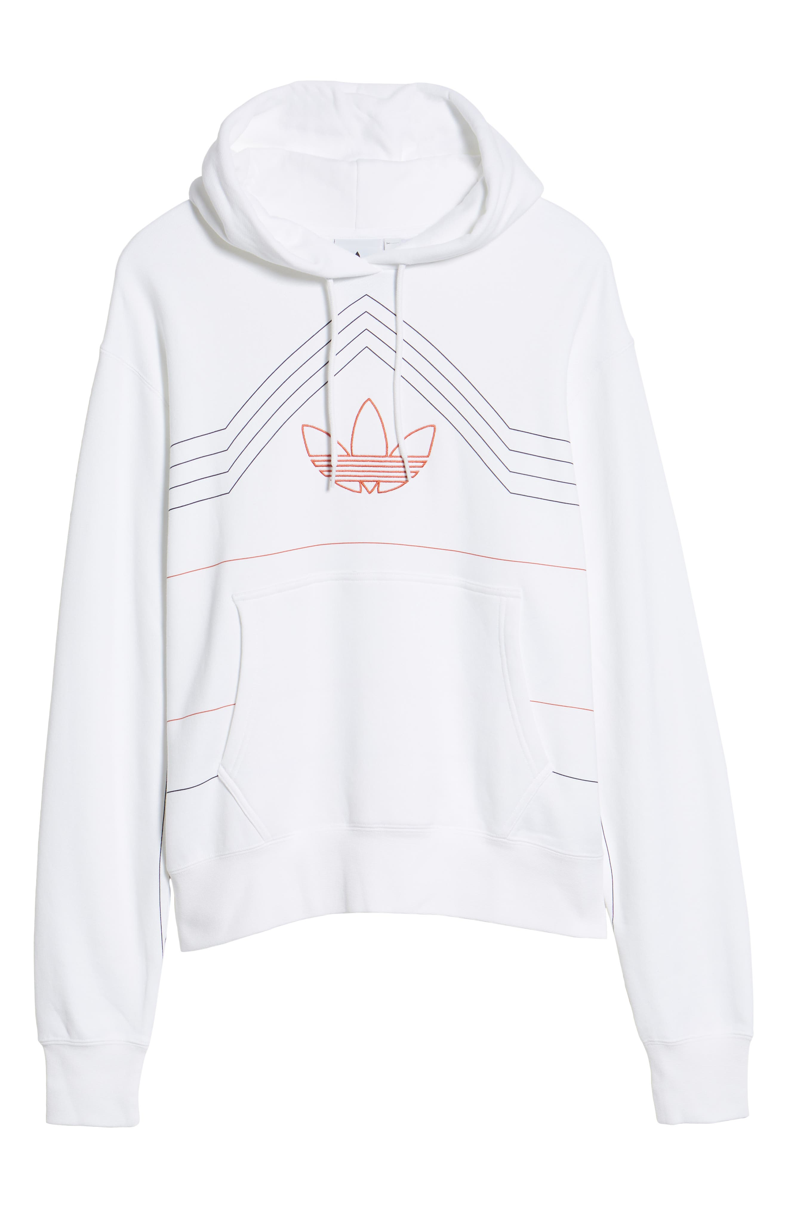 ADIDAS ORIGINALS, Ewing Hooded Sweatshirt, Alternate thumbnail 7, color, WHITE/ RAW AMBER