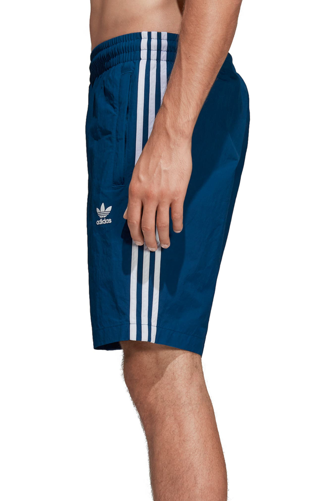 ADIDAS ORIGINALS, 3-Stripes Swim Trunks, Alternate thumbnail 3, color, LEGEND MARINE