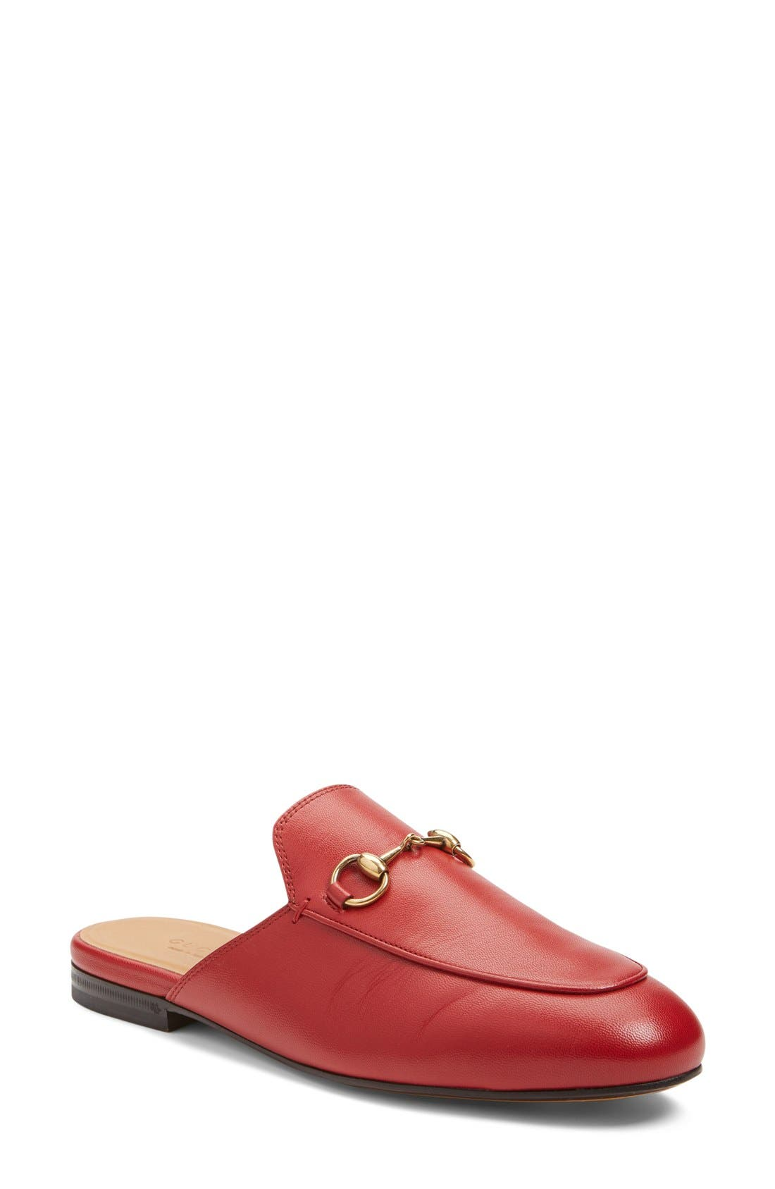 GUCCI, Princetown Loafer Mule, Main thumbnail 1, color, RED LEATHER