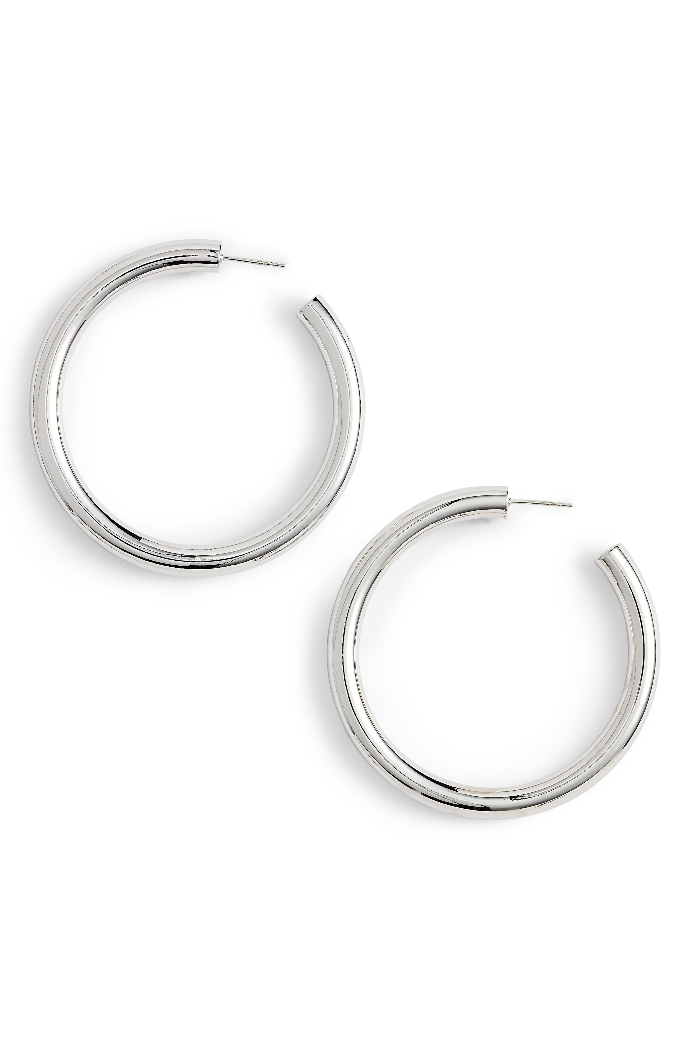 ARGENTO VIVO Hollow Hoop Earrings, Main, color, SILVER