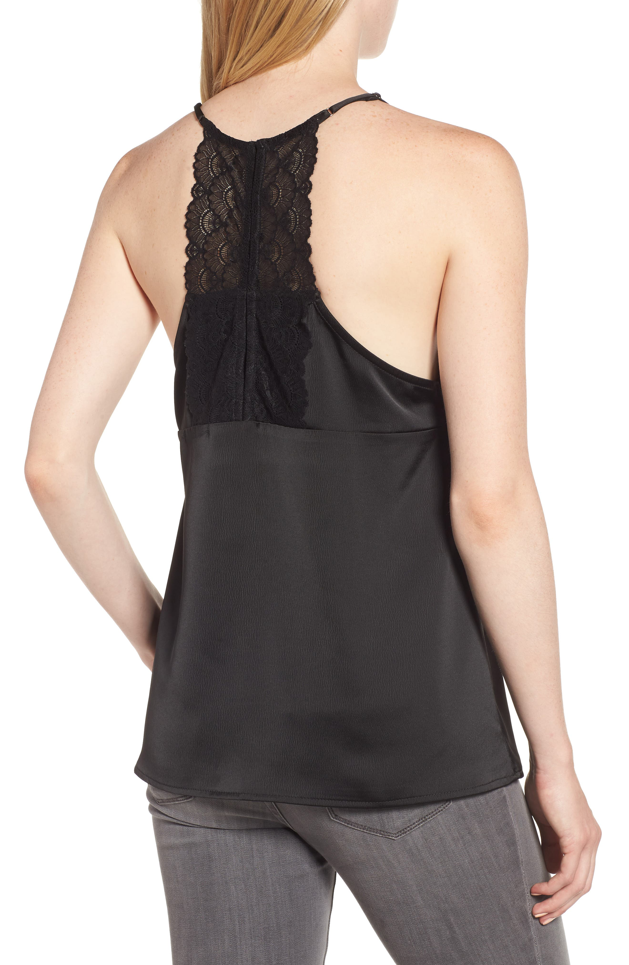GIBSON, x Living in Yellow Betty Lace Trim Camisole, Alternate thumbnail 2, color, BLACK/ BLACK