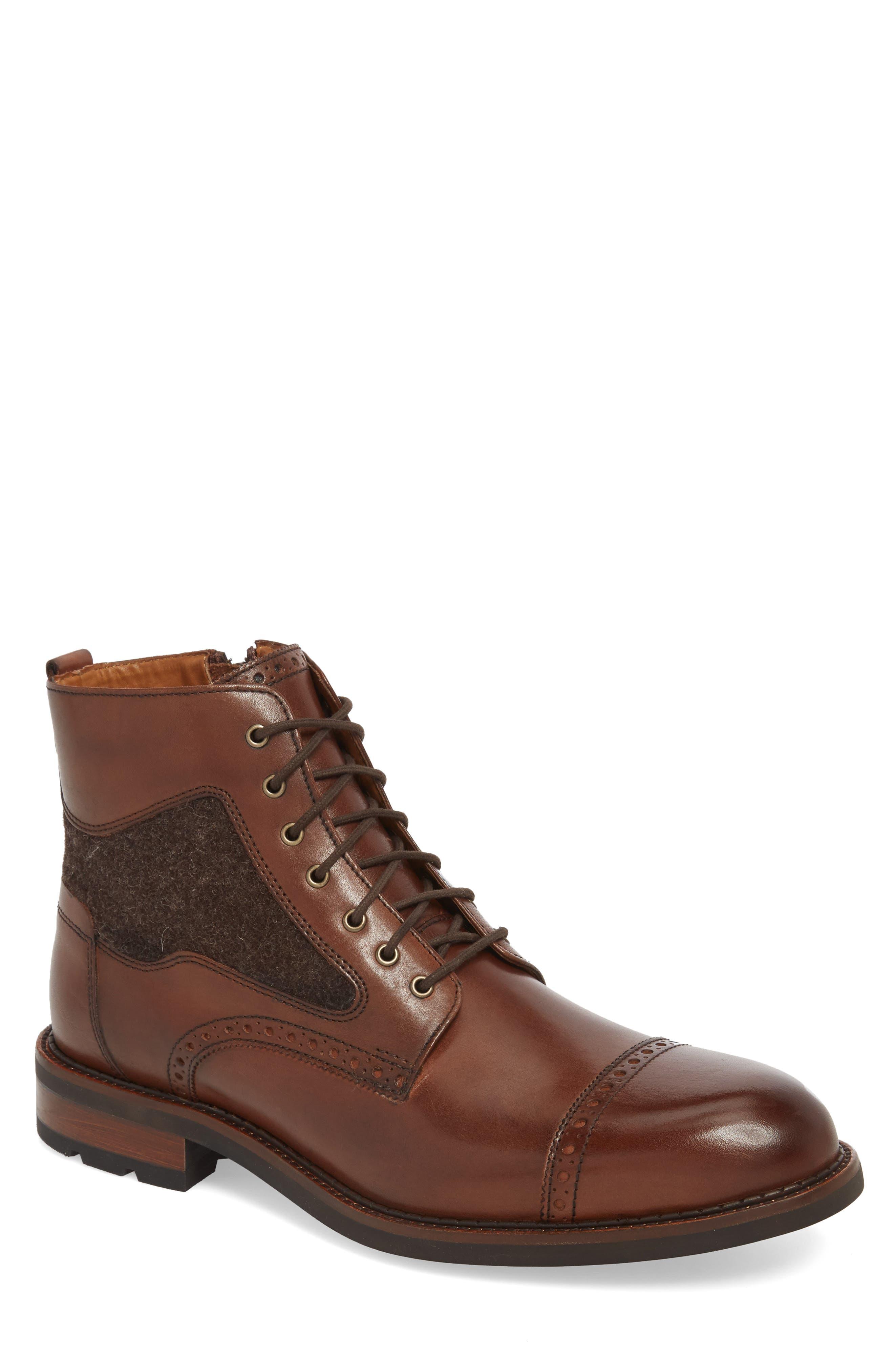 J&M 1850, Fullerton Zip Boot, Main thumbnail 1, color, MAHOGANY