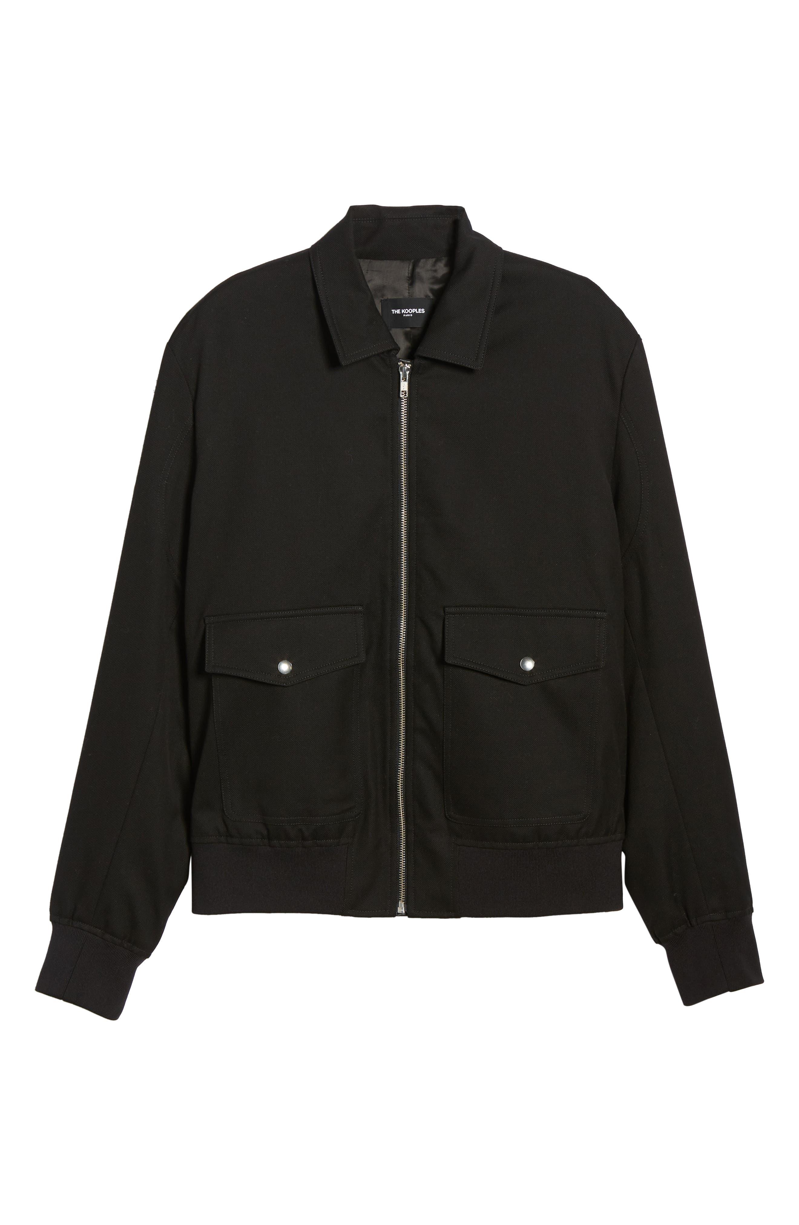 THE KOOPLES, Leather Detail Jacket, Alternate thumbnail 5, color, BLACK