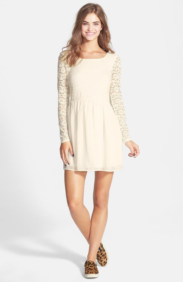 9d173f9c19c1 TRIXXI Bow Back Lace Skater Dress, Main, color, 900
