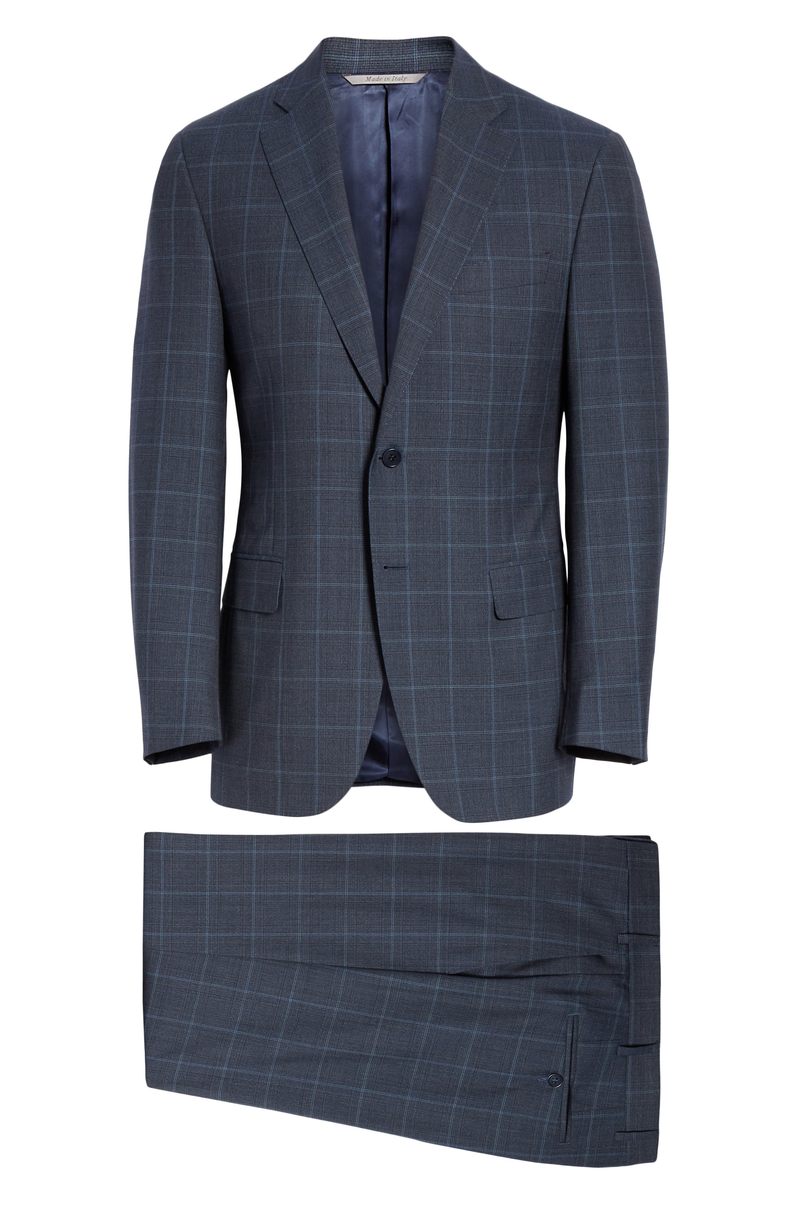 CANALI, Siena Soft Classic Fit Plaid Wool Suit, Alternate thumbnail 8, color, CHARCOAL