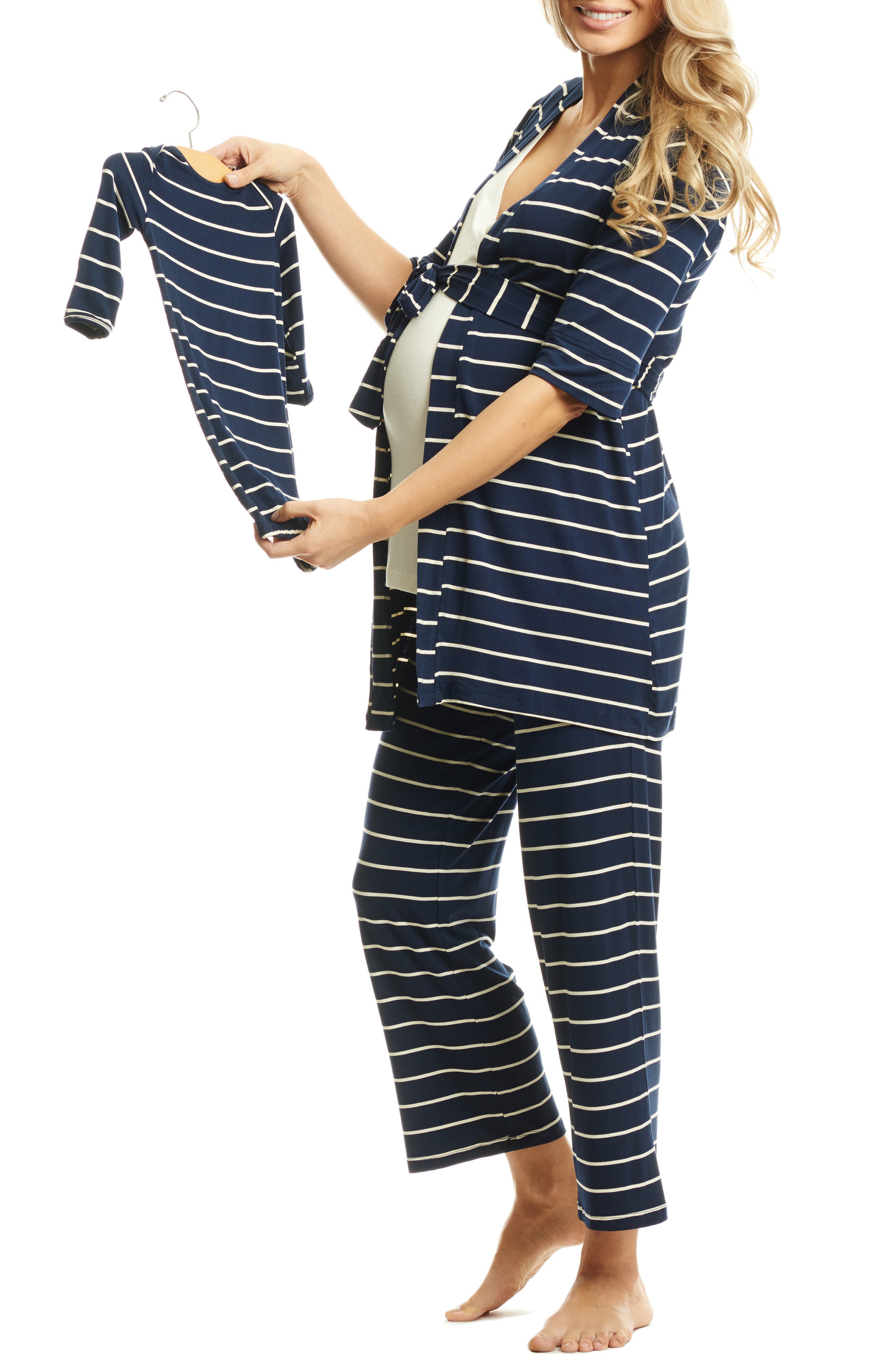 EVERLY GREY, Roxanne - During & After 5-Piece Maternity Sleepwear Set, Alternate thumbnail 3, color, NAVY
