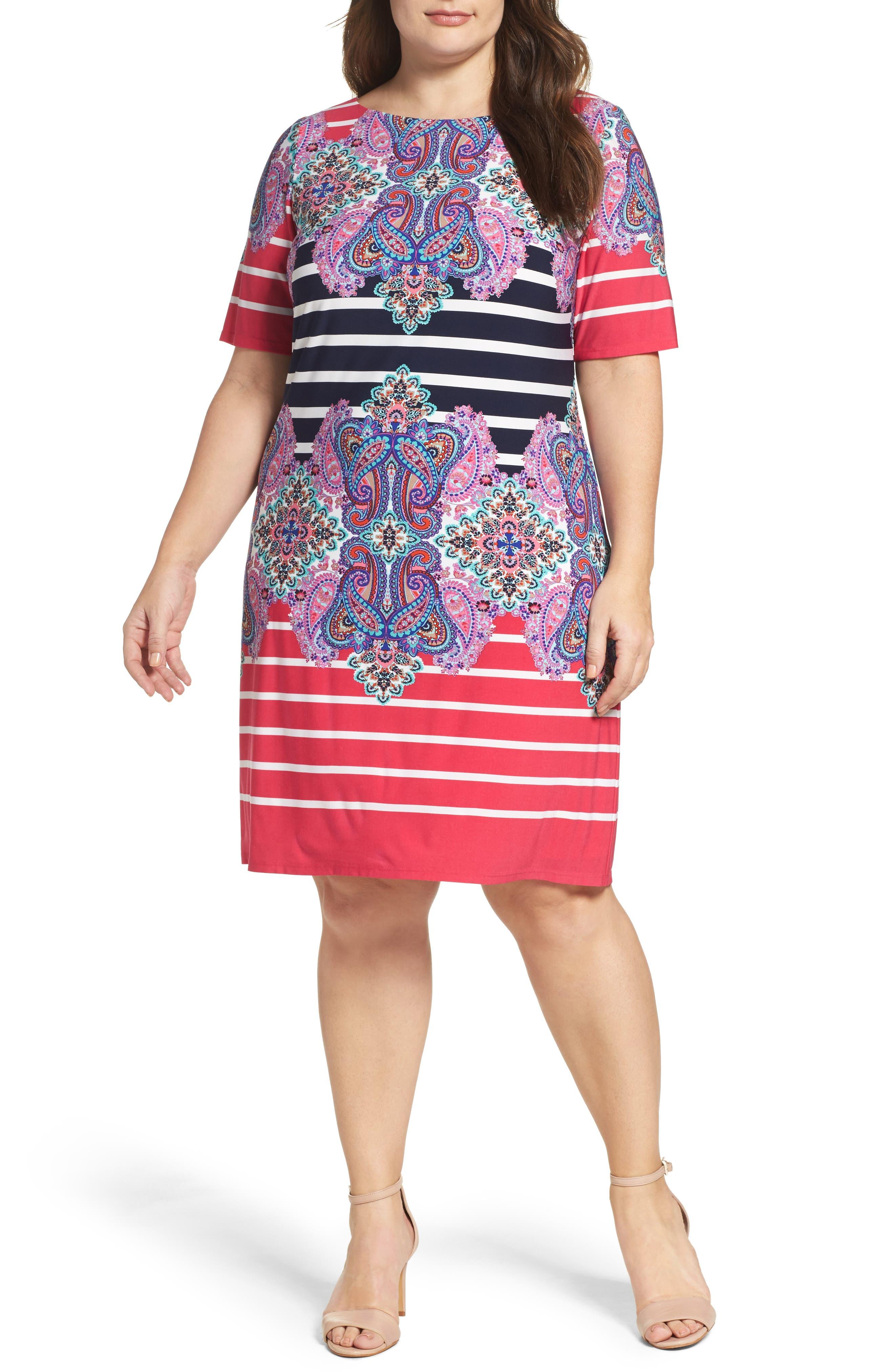 ELIZA J, Stripe & Paisley Shift Dress, Main thumbnail 1, color, 698