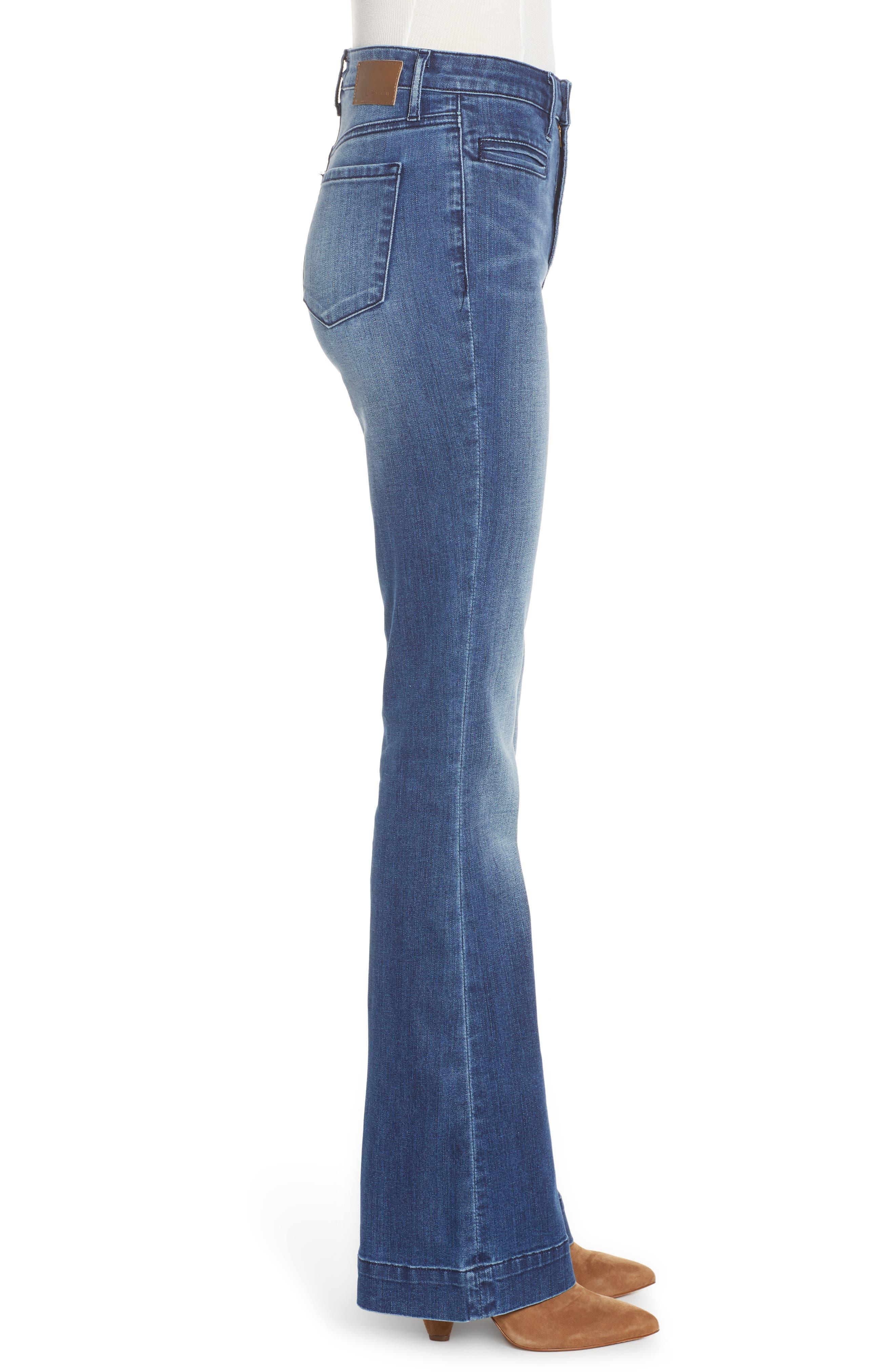 LEITH, High Waist Flare Jeans, Alternate thumbnail 4, color, MEDIUM WASH