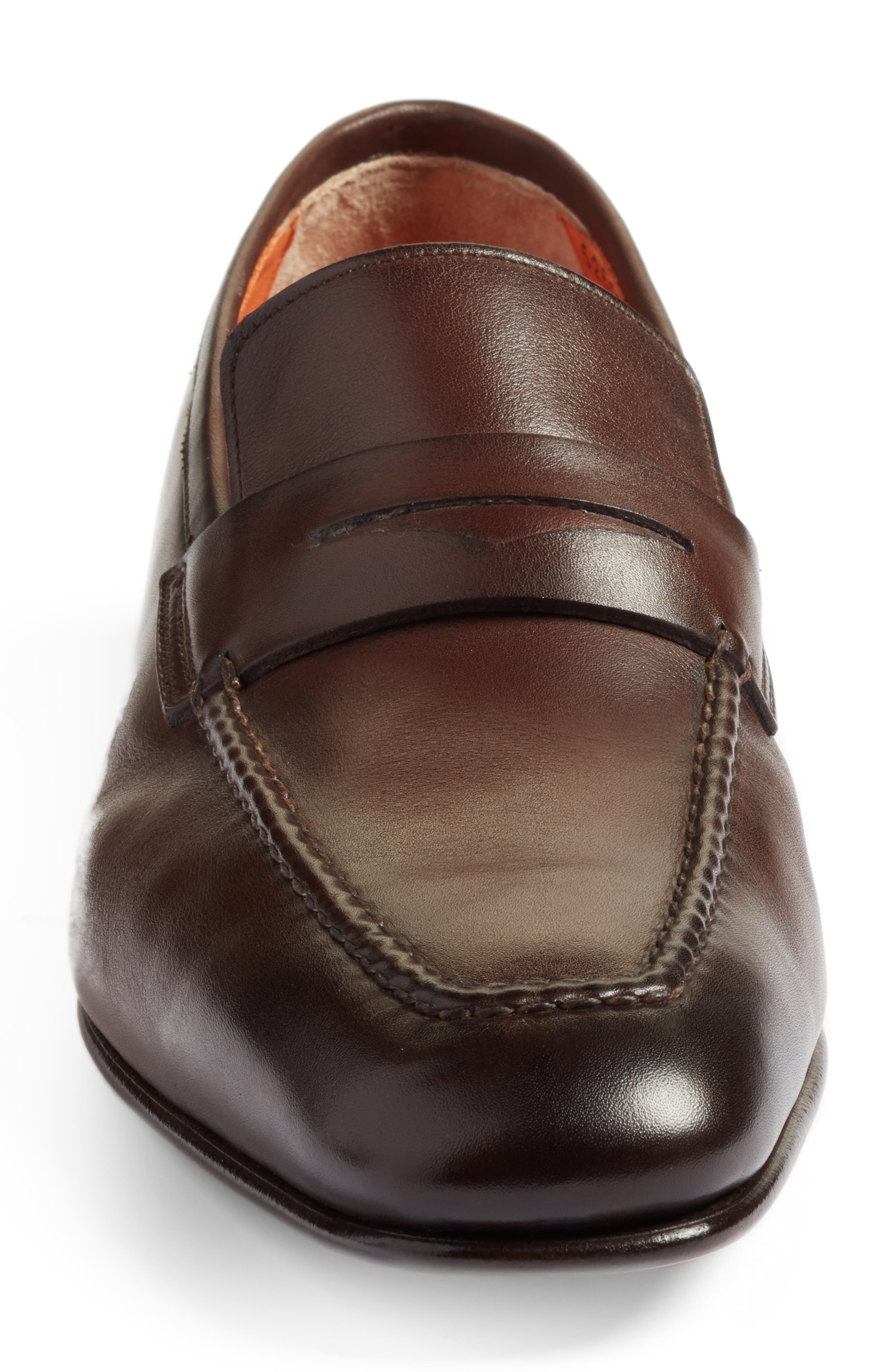 SANTONI, Fox Packable Penny Loafer, Alternate thumbnail 4, color, DARK BROWN LEATHER