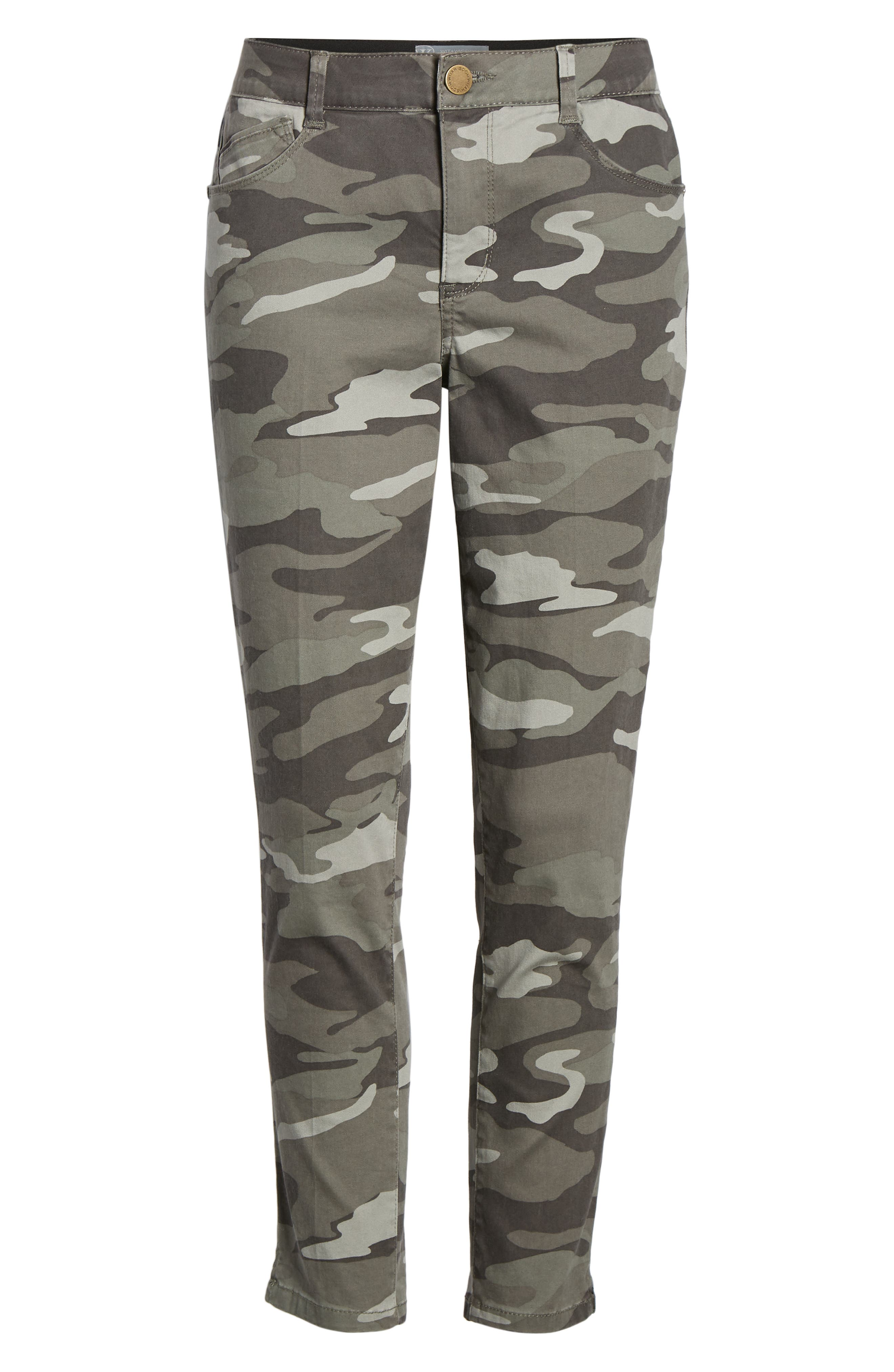 WIT & WISDOM, Ab-Solution Camo High Waist Ankle Skinny Pants, Alternate thumbnail 7, color, SAGE CAMO