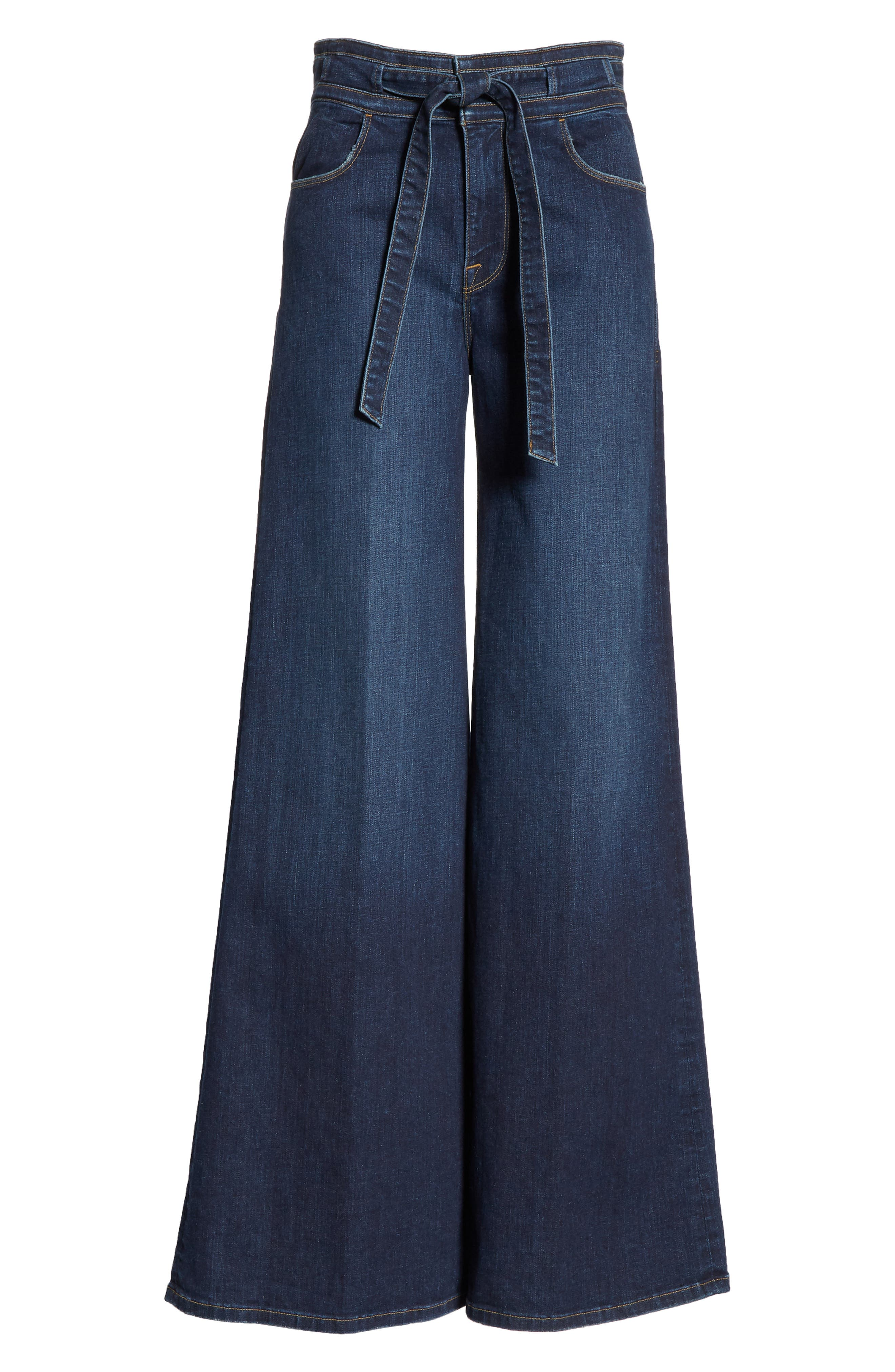 FRAME, Belted Palazzo Jeans, Alternate thumbnail 7, color, MERIBO