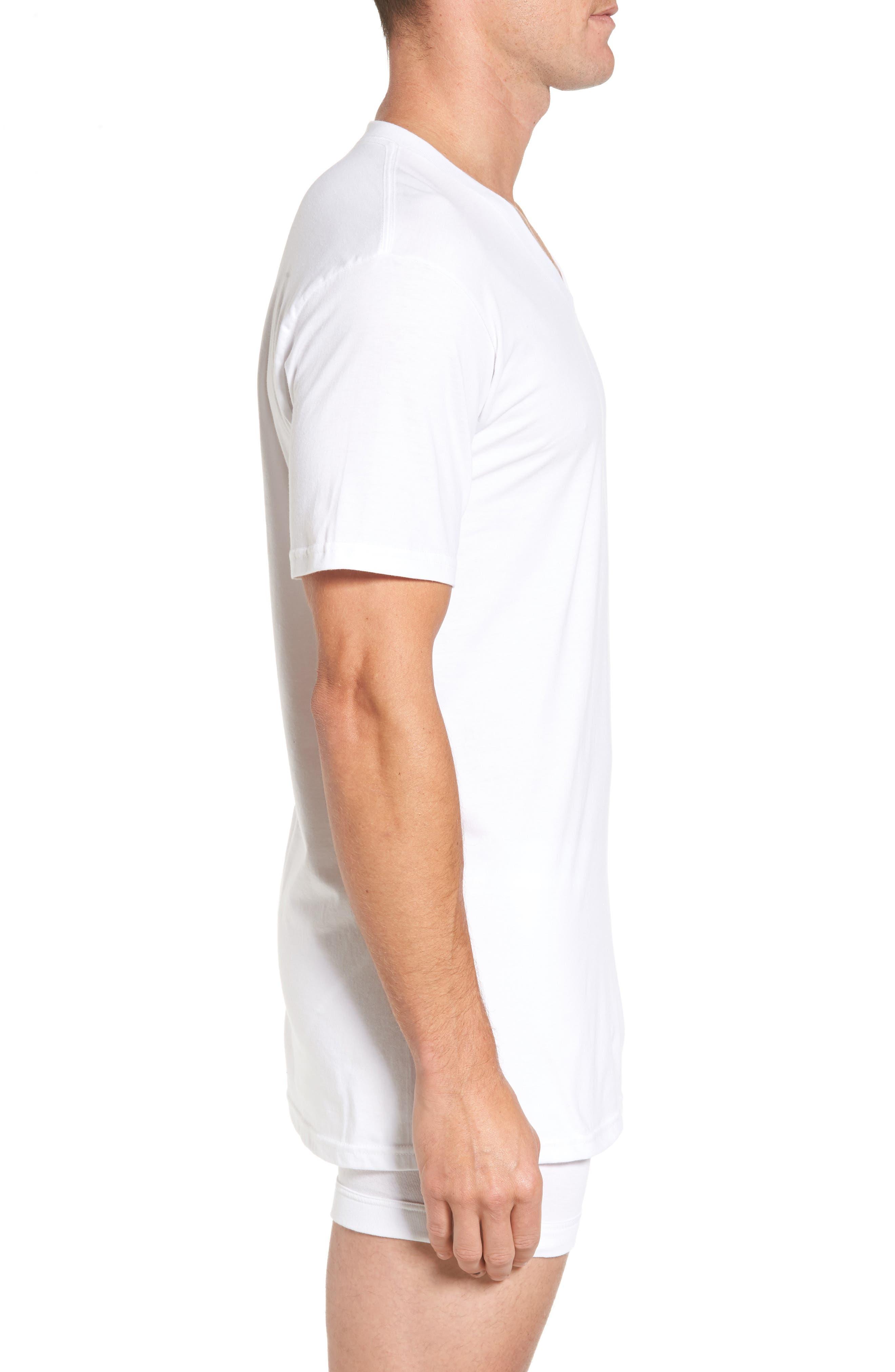 NORDSTROM MEN'S SHOP, 4-Pack Regular Fit Supima<sup>®</sup> Cotton V-Neck T-Shirts, Alternate thumbnail 3, color, WHITE