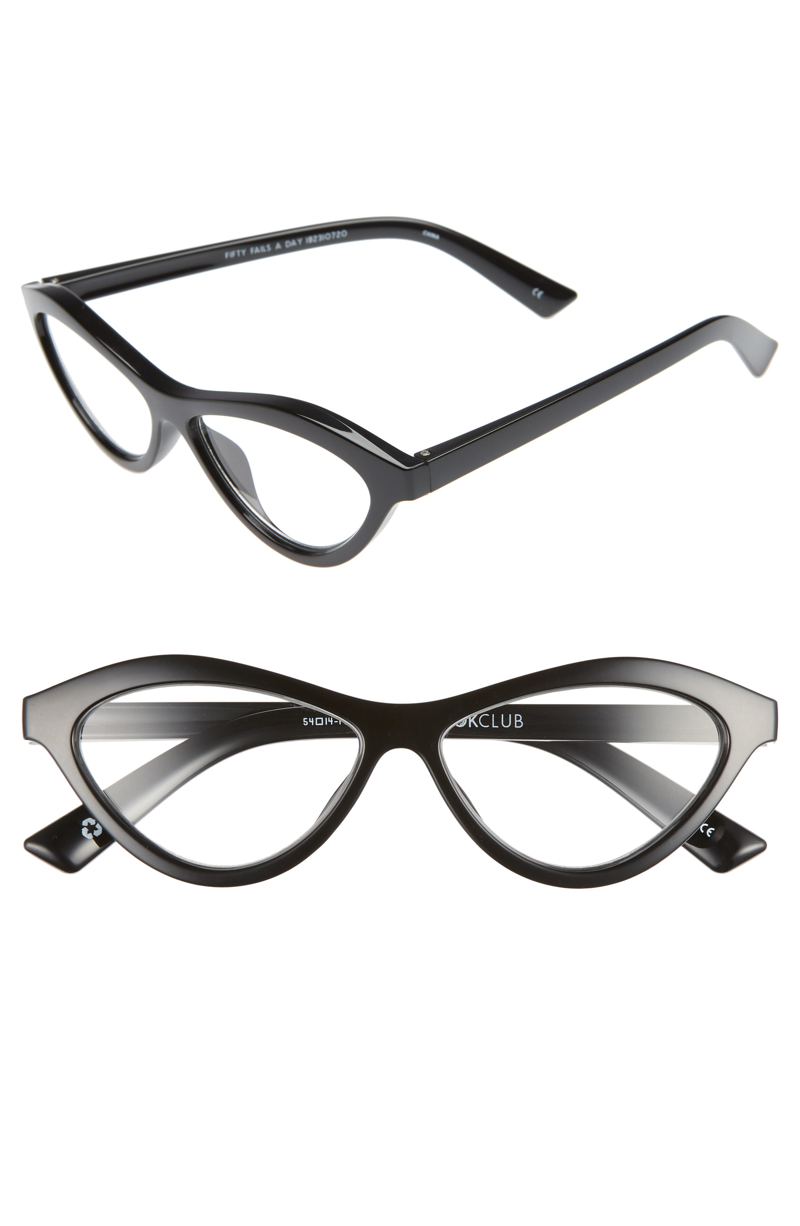 THE BOOKCLUB Fifty Fails a Day 54mm Reading Glasses, Main, color, BLACK MARKER