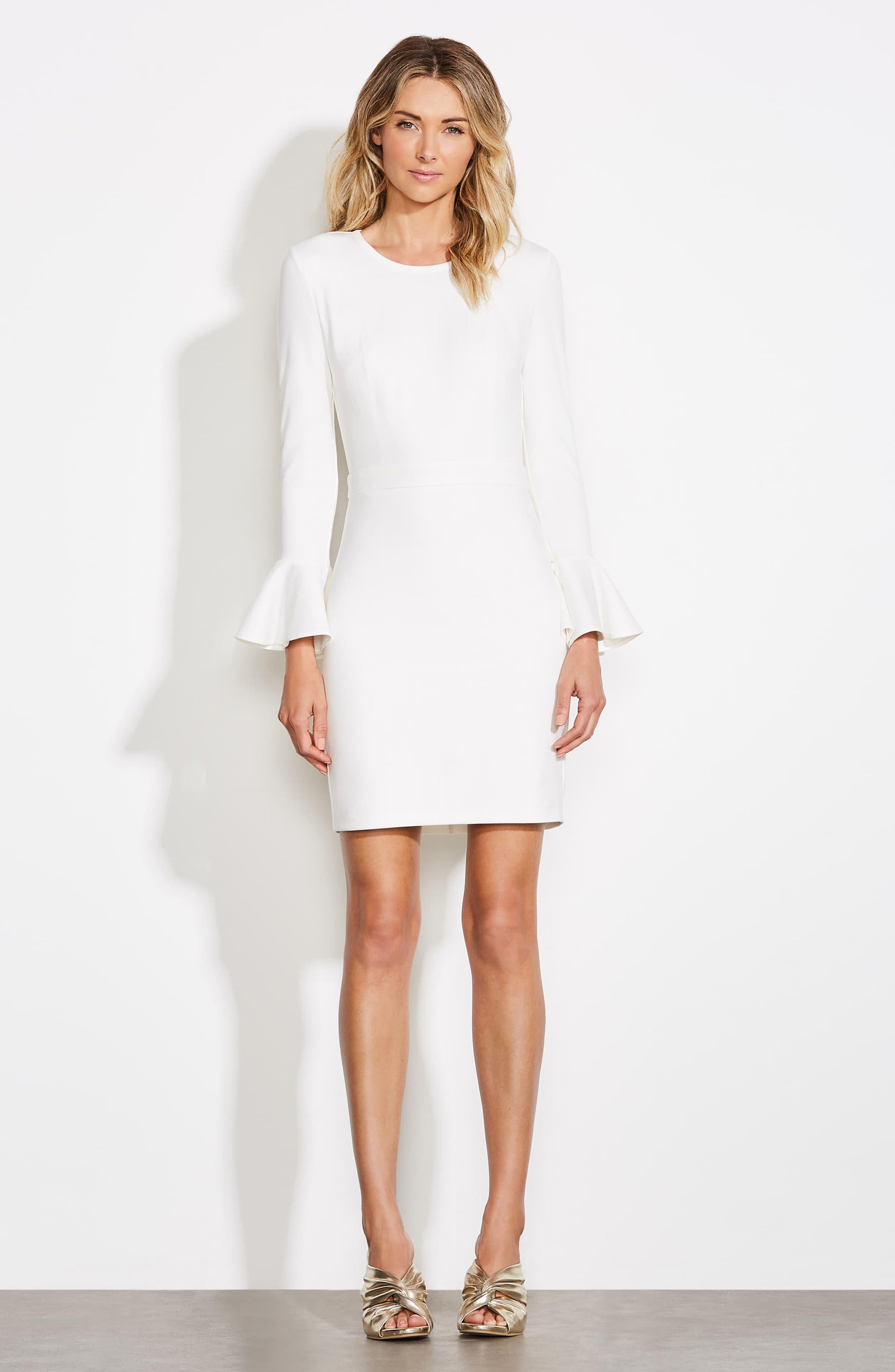 ALI & JAY, Pavillion Bell Cuff Sheath Dress, Alternate thumbnail 8, color, WHITE