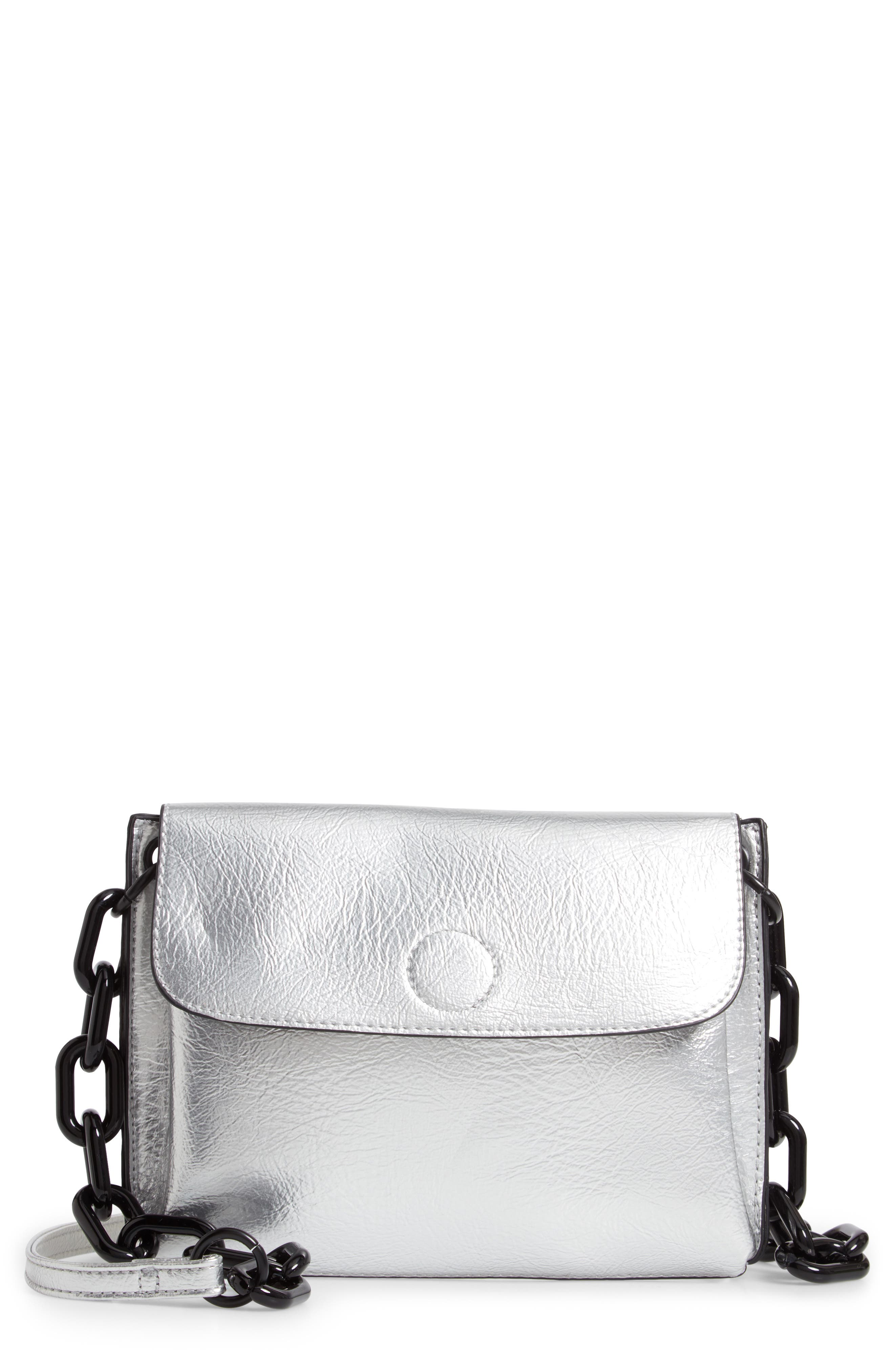 VIOLET RAY NEW YORK, Metallic Faux Leather Crossbody Bag, Main thumbnail 1, color, SILVER