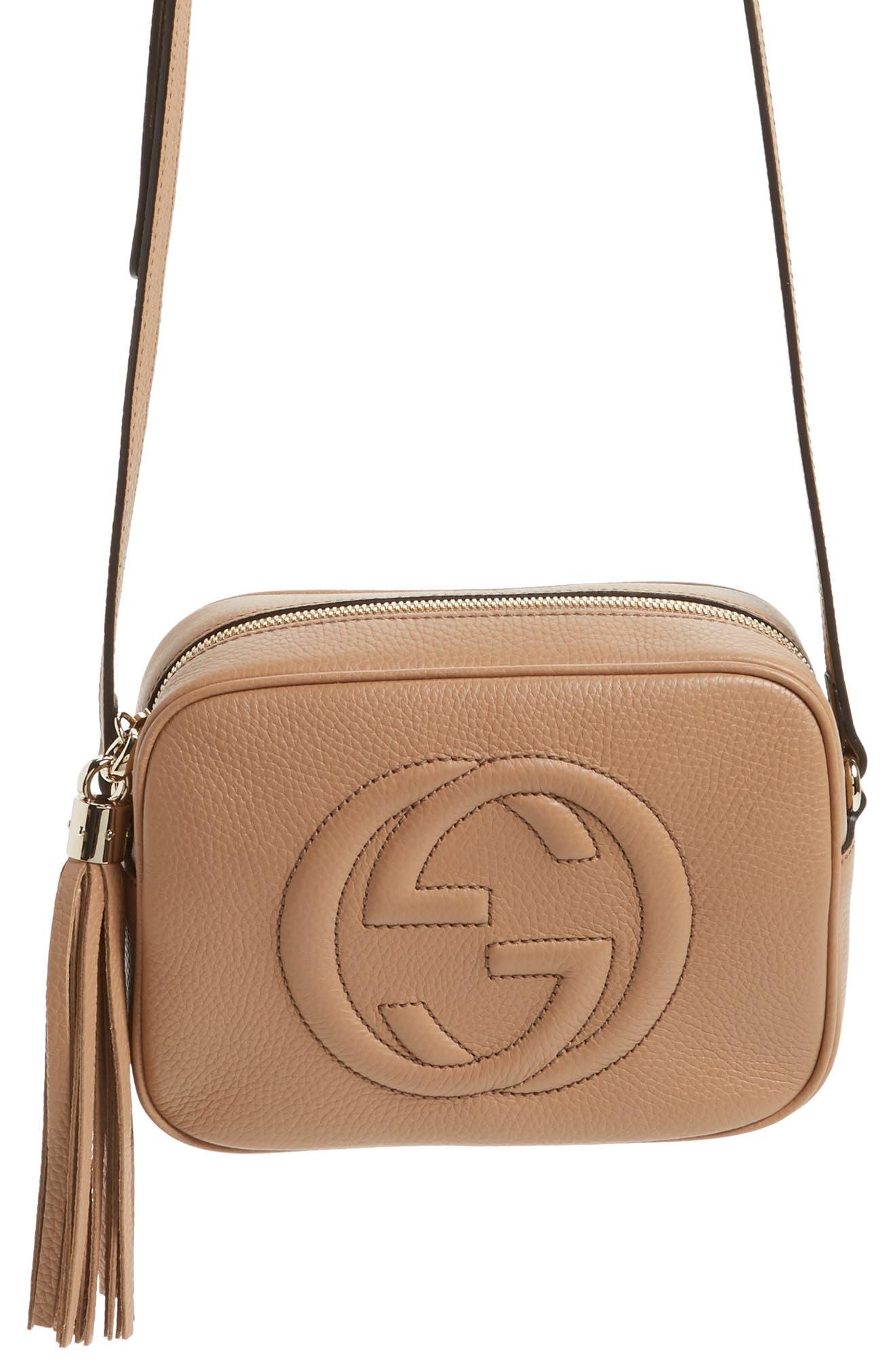 GUCCI, Soho Disco Leather Bag, Alternate thumbnail 7, color, 2754 CAMELIA