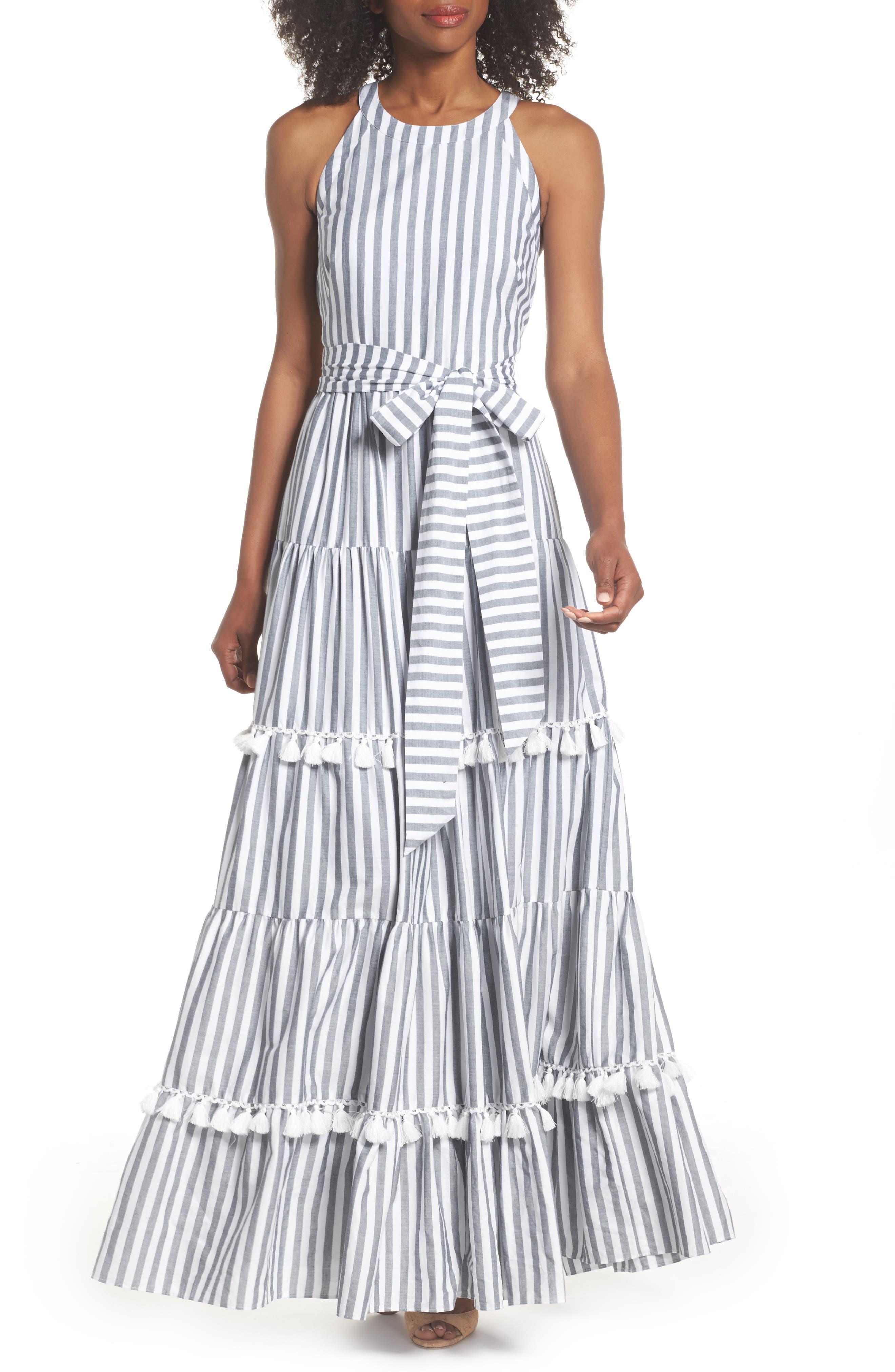 ELIZA J Tiered Tassel Fringe Cotton Maxi Dress, Main, color, IVORY/ GREY